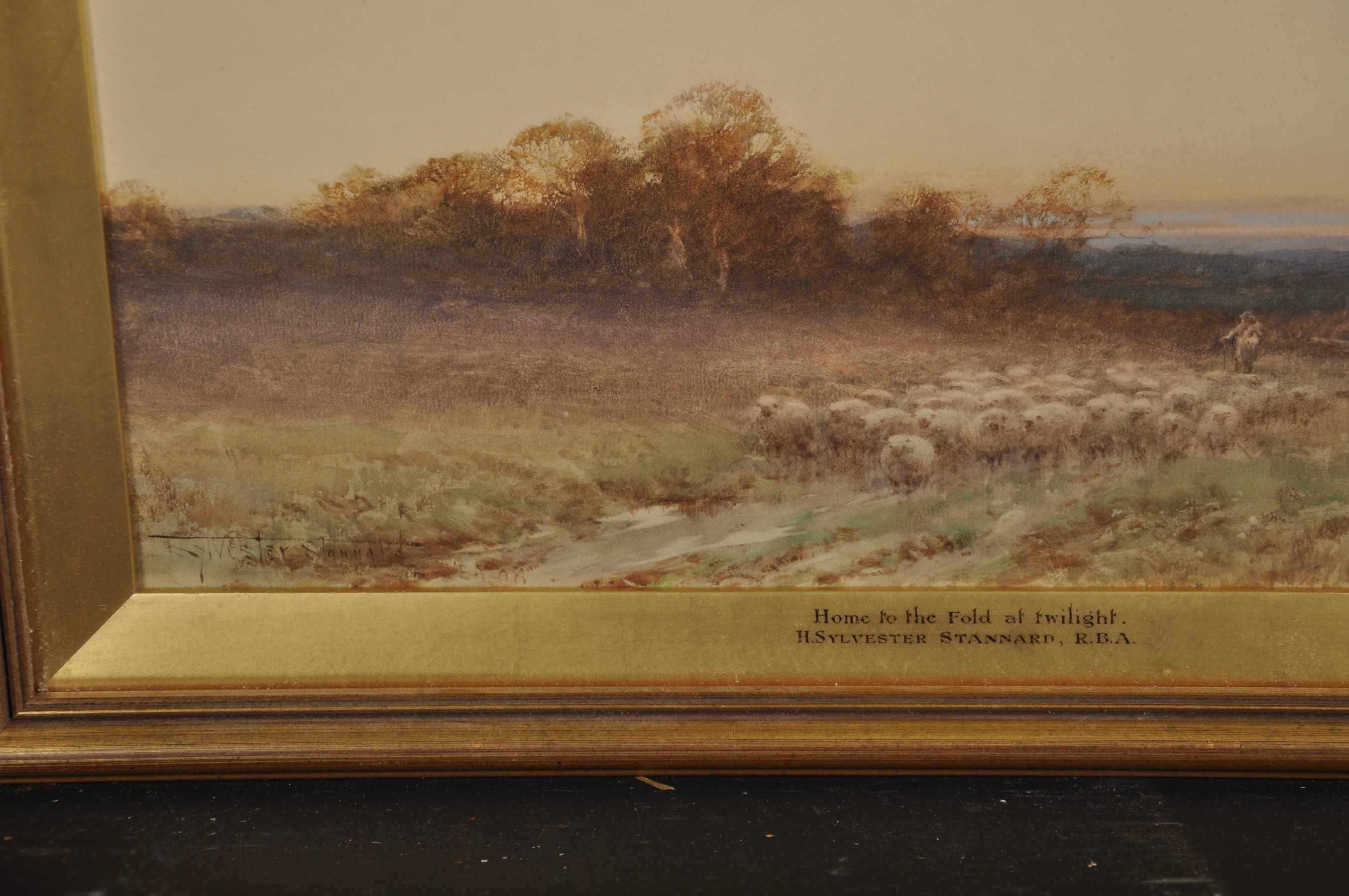 """Henry John Sylvester Stannard (1870-1951) British. """"Home to the Fold at Twilight"""", with a Shepherd - Image 3 of 4"""