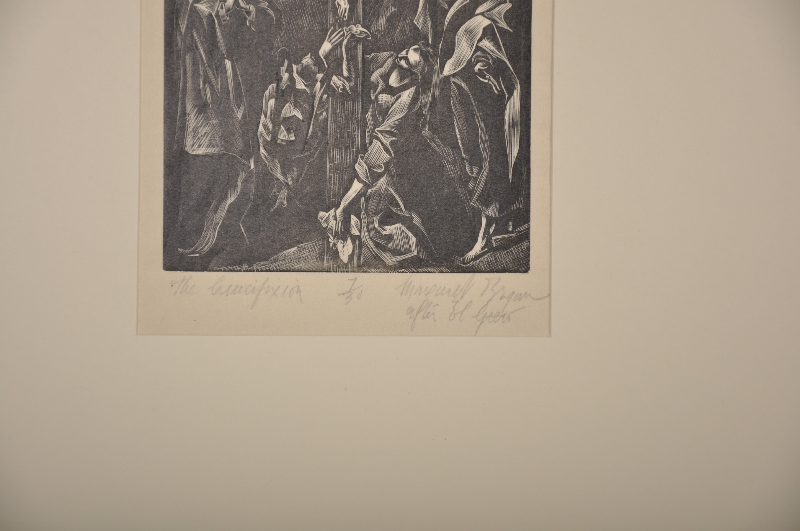 D. Margaret Bryan (19th - 20th Century) British. 'The Crucifixion', after El Greco, Woodcut, Signed, - Image 3 of 3