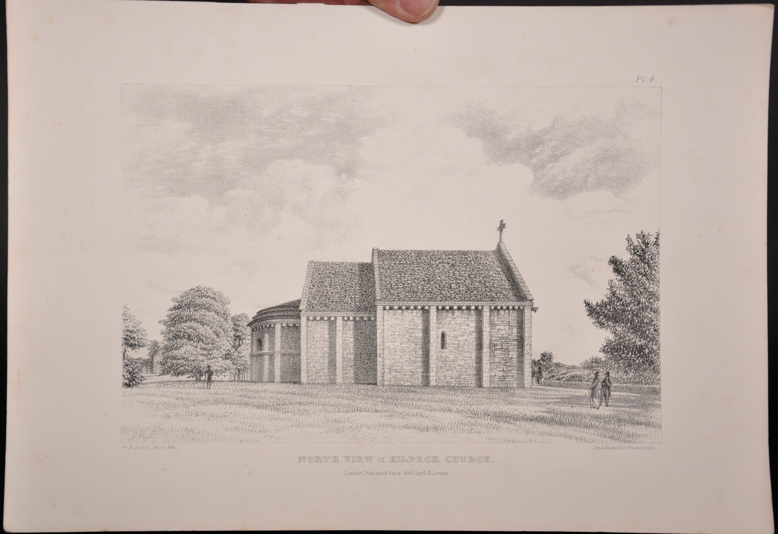 "George Robert Lewis (1782-1871) British. ""North View of Kilpeck Church"", Lithograph, Unframed, 6. - Image 2 of 4"