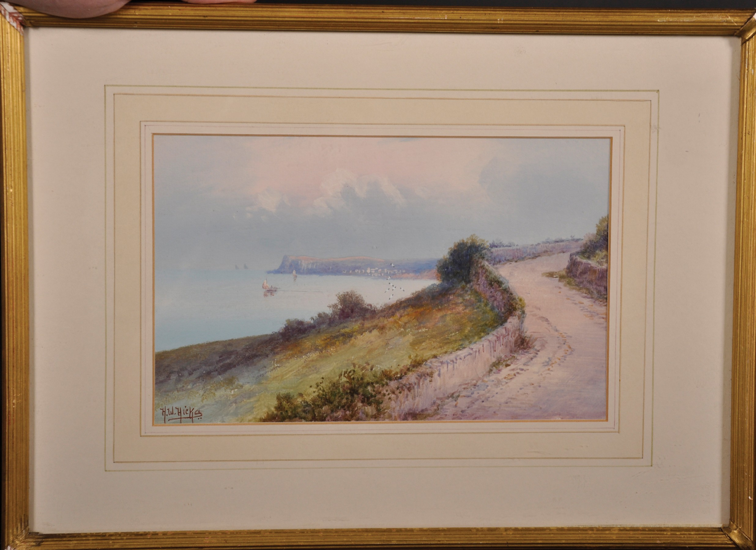 Herbert William Hicks (1880-1944) British. 'Torbay', a Path on a Coastal View, Watercolour, - Image 2 of 5