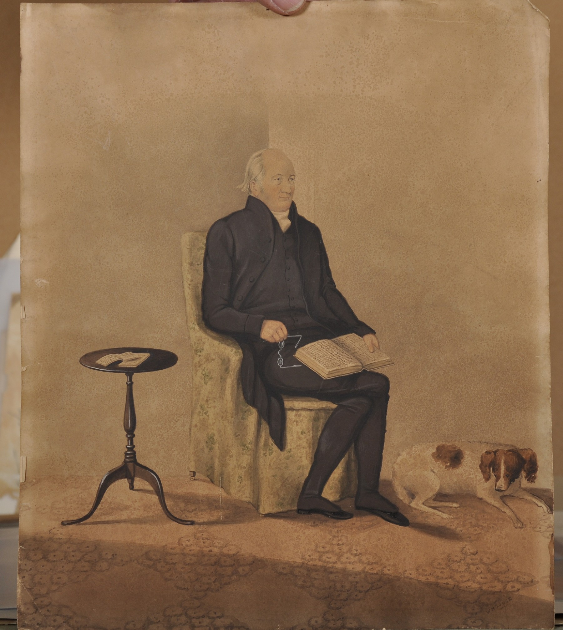 W... H... Gruse (19th Century) British. Portrait of a Man seated with a Book and a Dog at his - Image 2 of 3