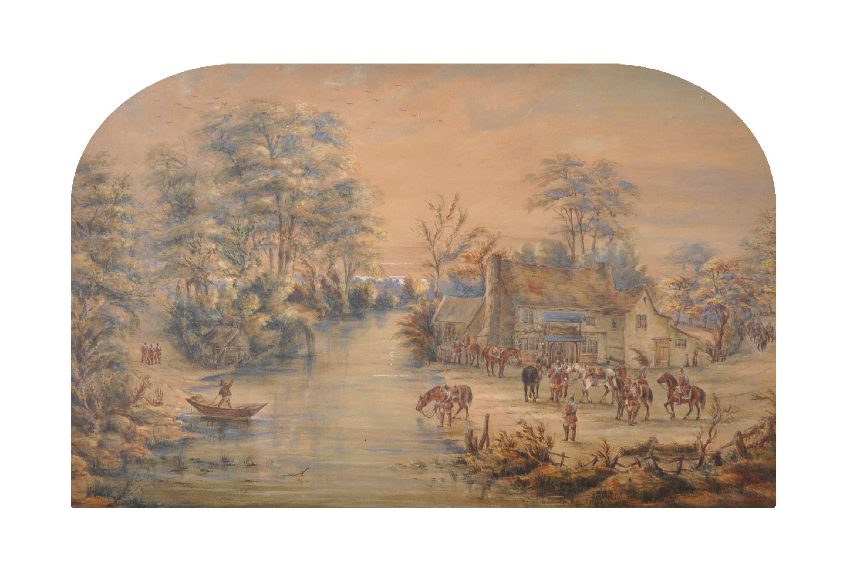 19th Century Continental School. A Riverside Inn with Soldiers at Rest, Watercolour, Arched, in a