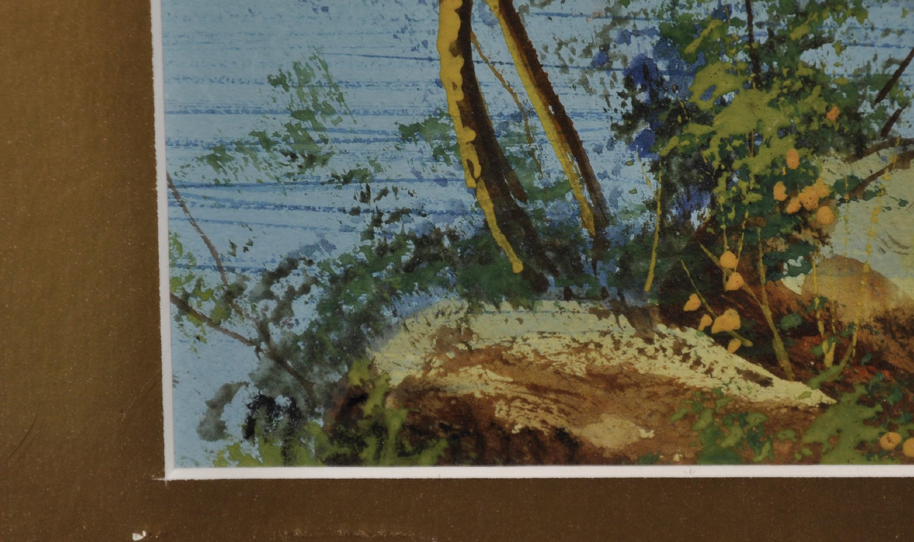 """Maria Gianni (1873-1956) Italian. A Coastal Scene, Watercolour, Signed, 6.25"""" x 12.25"""". - Image 3 of 4"""