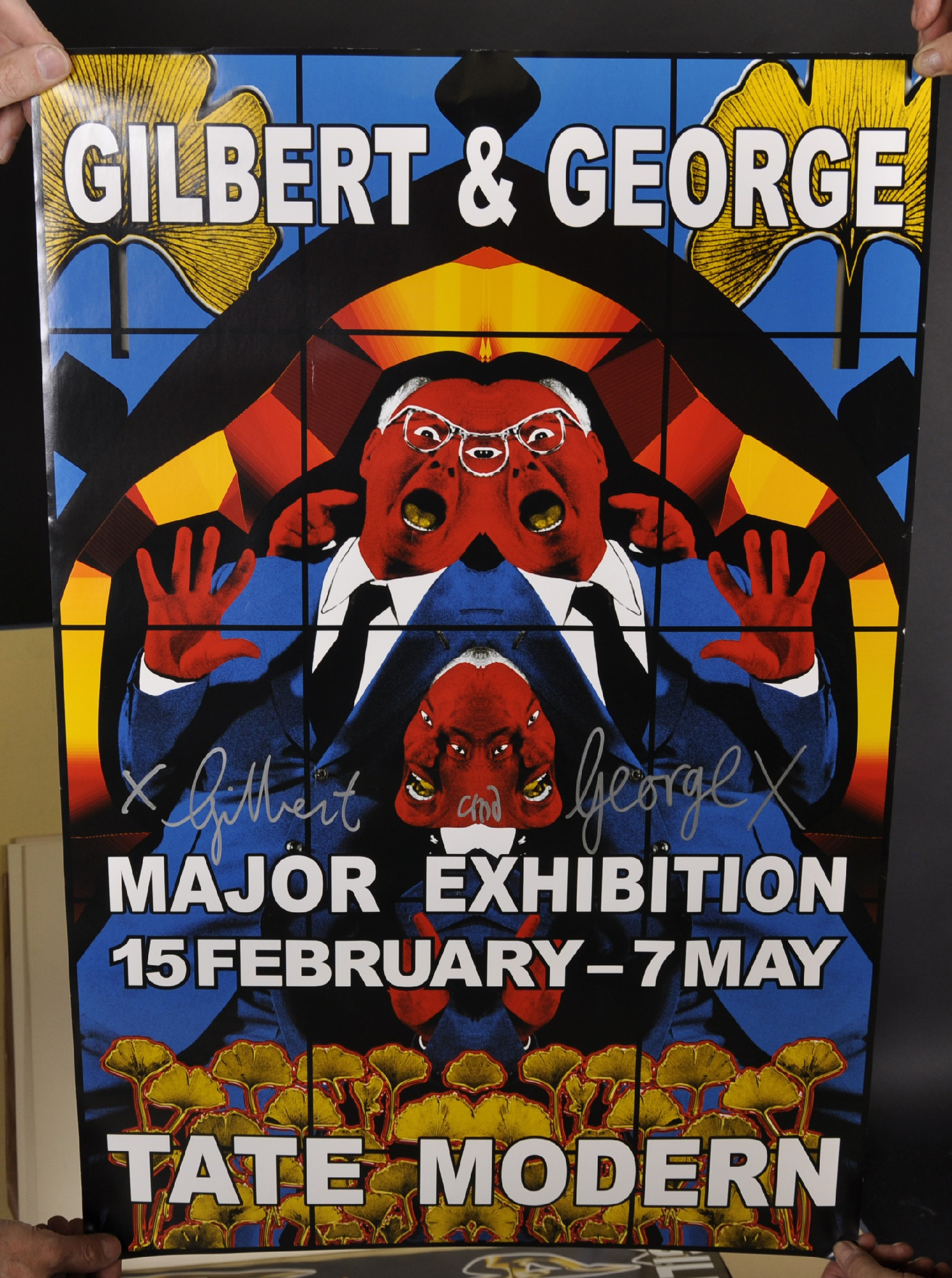 "Gilbert and George (20th - 21st Century) British. ""Major Exhibition Tate Modern"", Poster, Signed - Image 6 of 6"