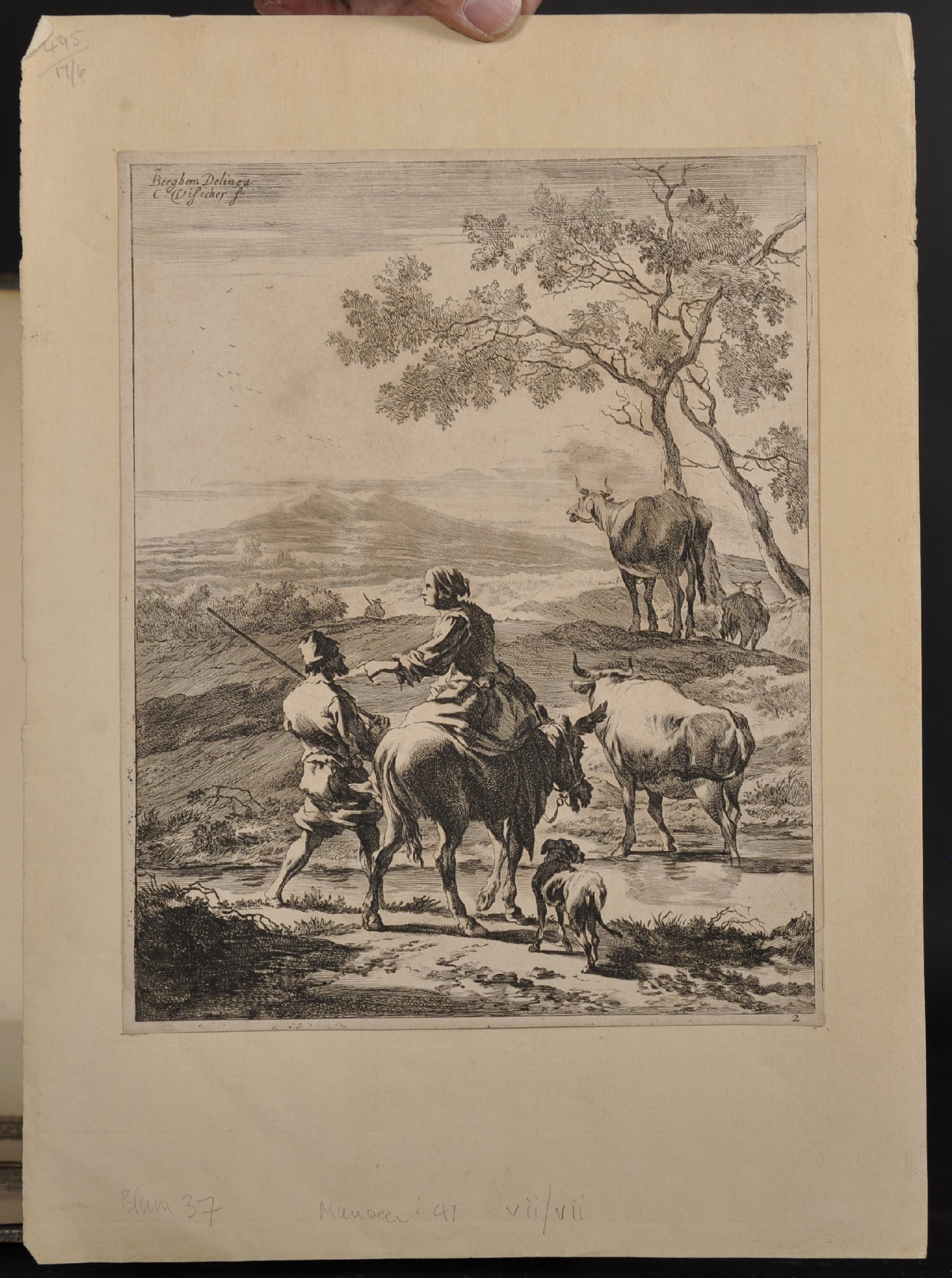 """After Nicholas Berghem (1620-1683) Dutch. Figures on a Path, Engraving, Unframed, 10.25"""" x 8"""", - Image 2 of 5"""