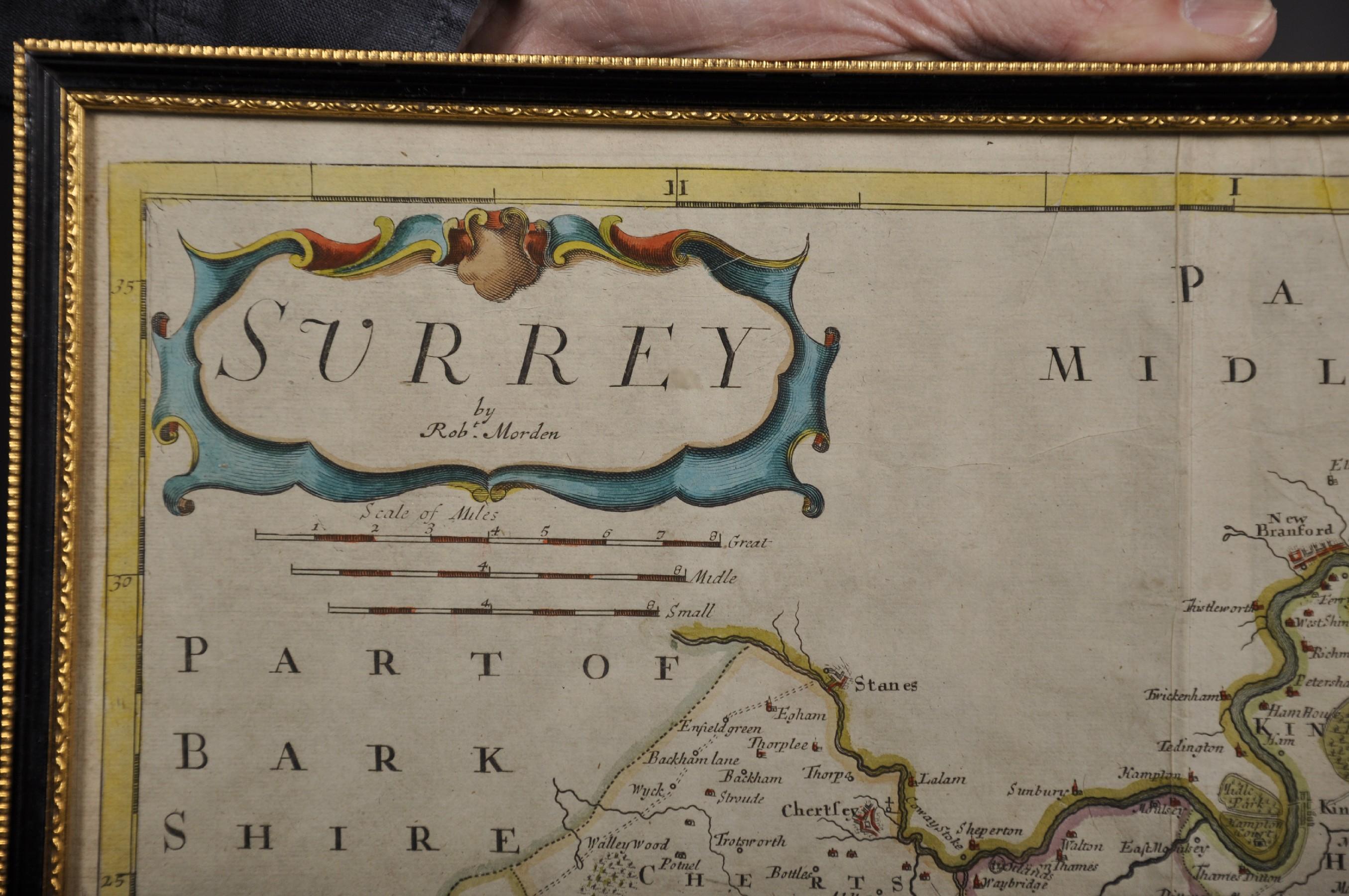 """Robert Morden (c1650-1703) British. """"Surrey"""", Map, 15"""" x 18"""". - Image 3 of 4"""