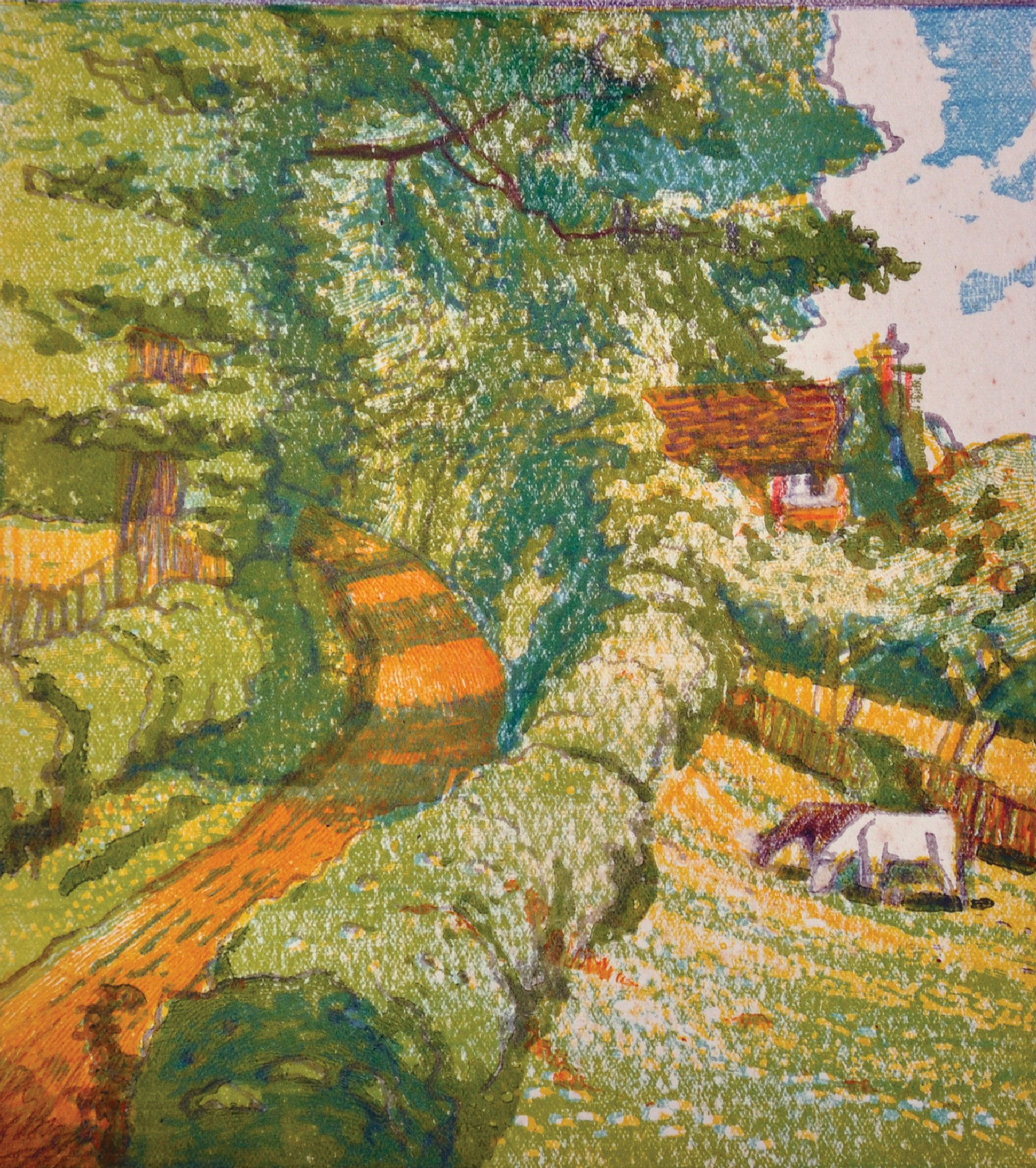 John Hall Thorpe (1874-1947) British. Cows in a Meadow by a Village Road, Woodcut in Colours, Signed