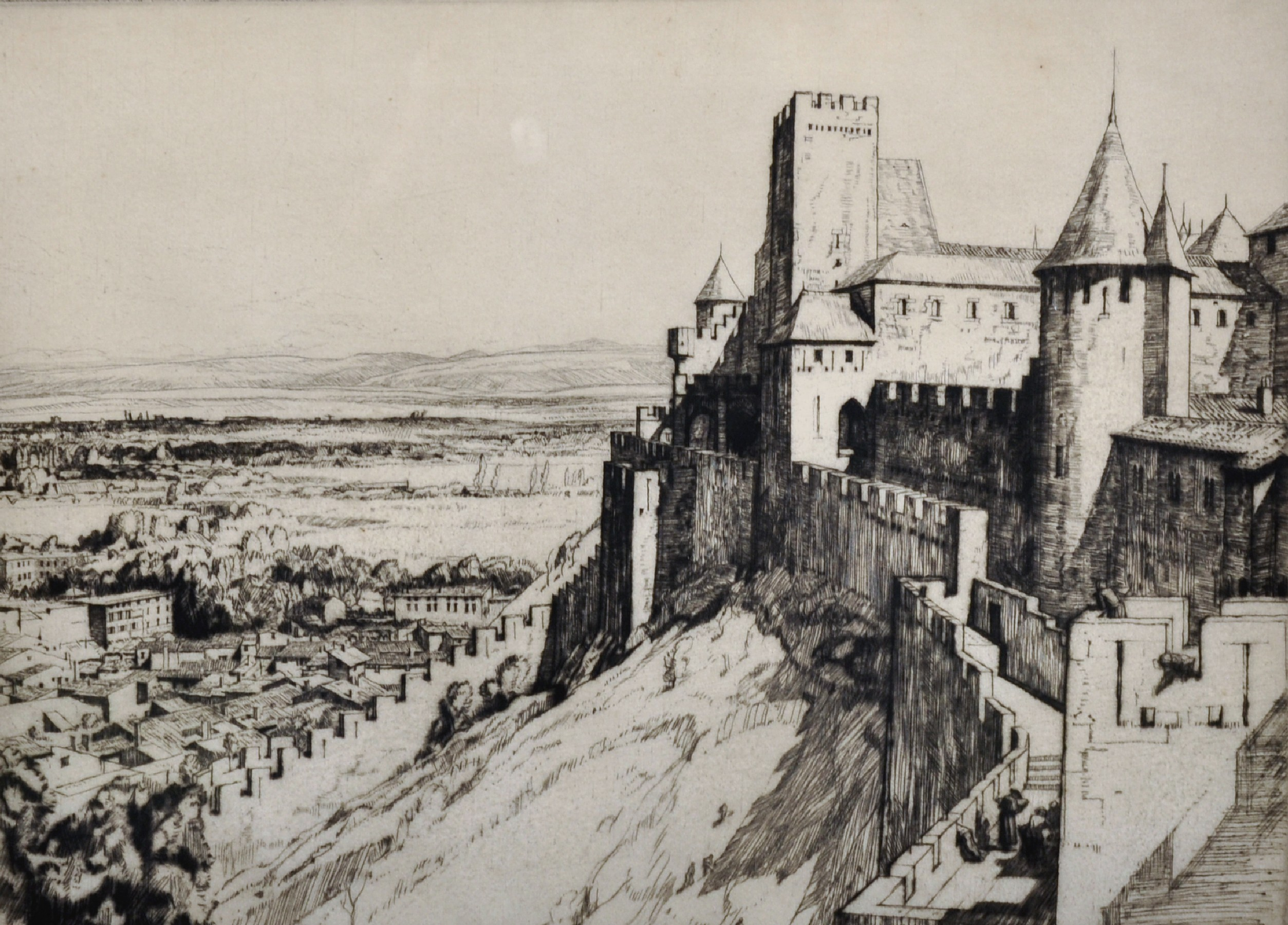 """Malcolm Osborne (1880-1963) British. 'The Fortress Carcassonne"""", Etching, Signed in Pencil, 9.25"""""""