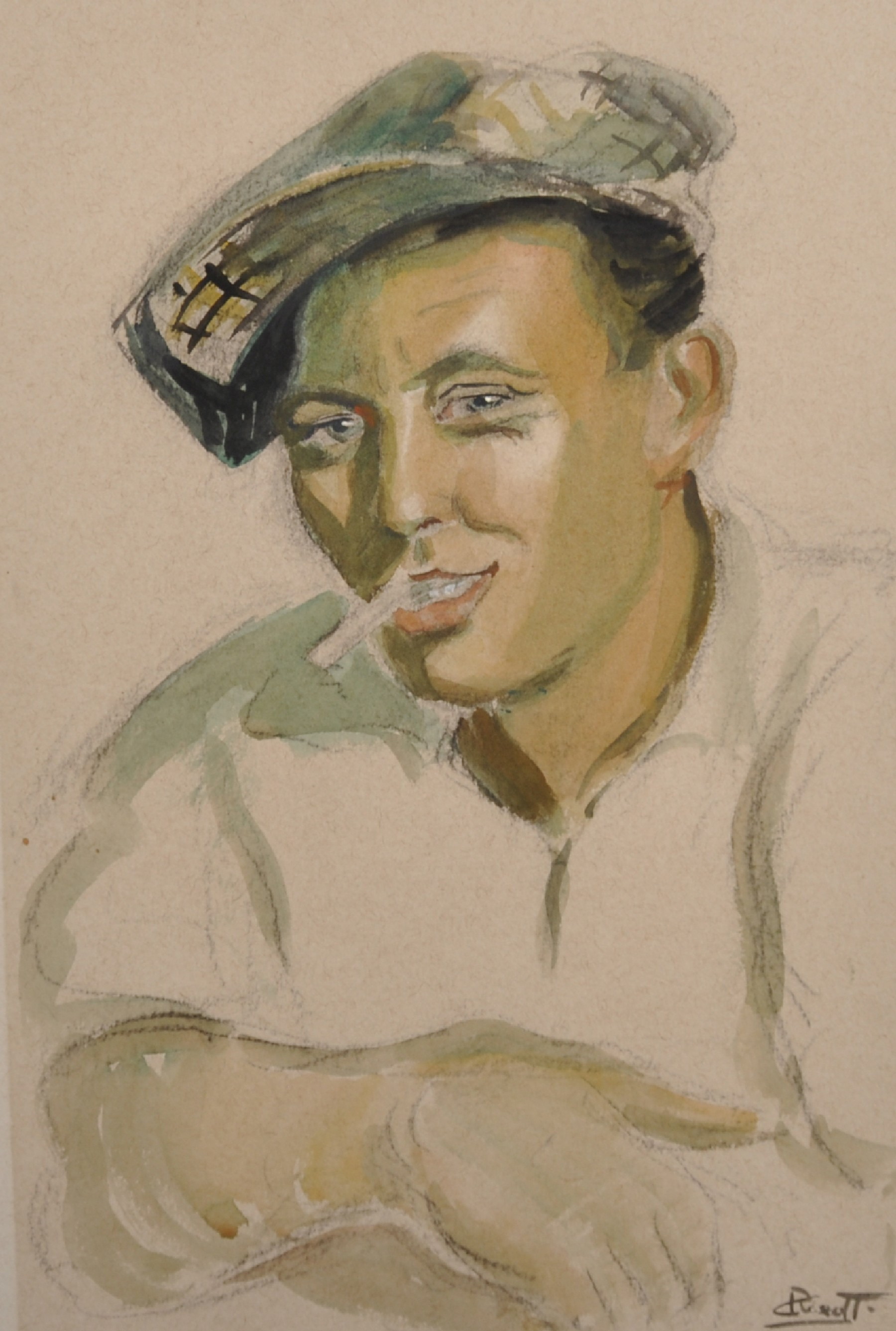 Early 20th Century Italian School. Portrait of a Man wearing a Cap, and Smoking a Cigarette,
