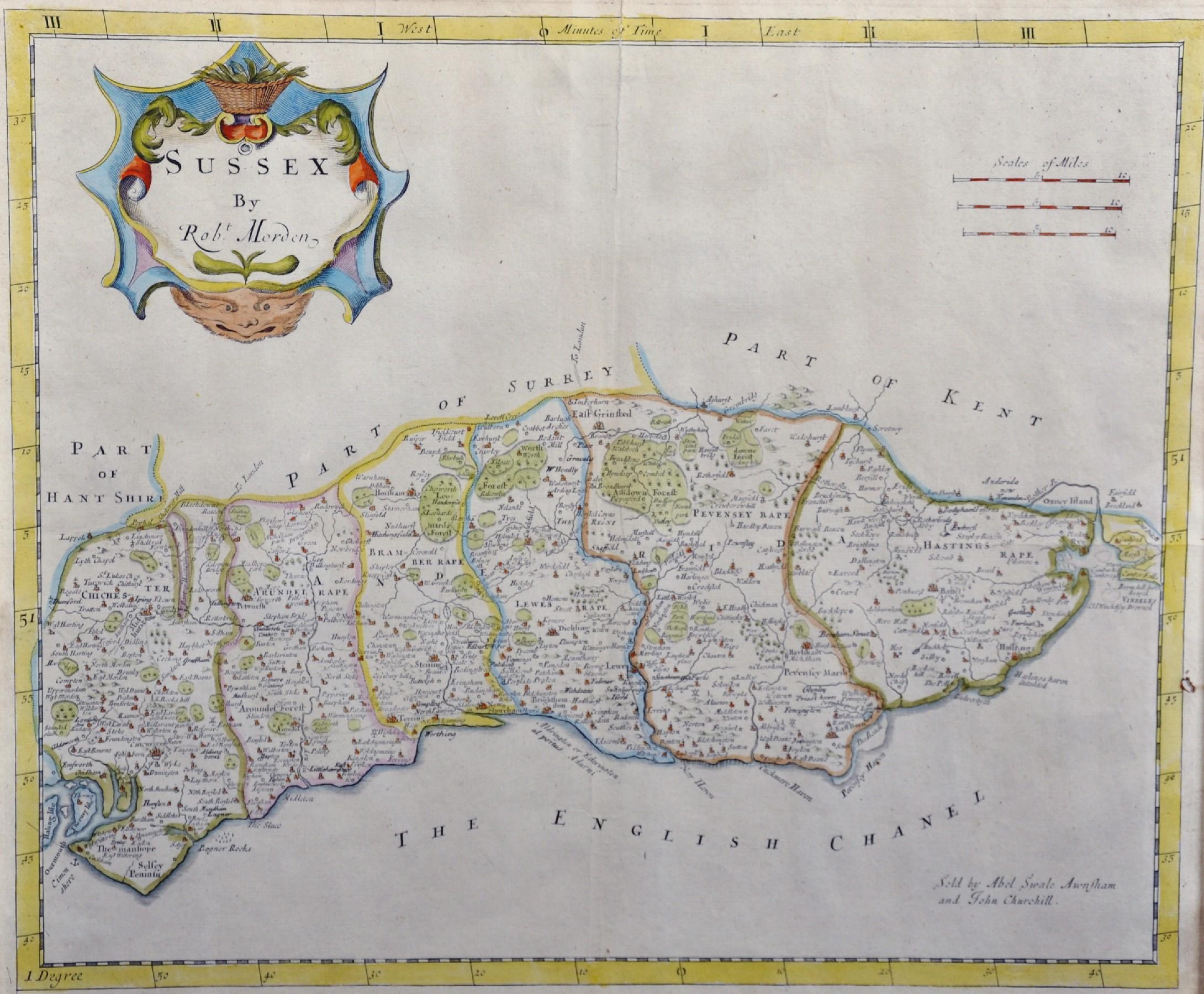 """Robert Morden (c1650-1703) British. """"Sussex"""", Map, 15"""" x 18""""."""