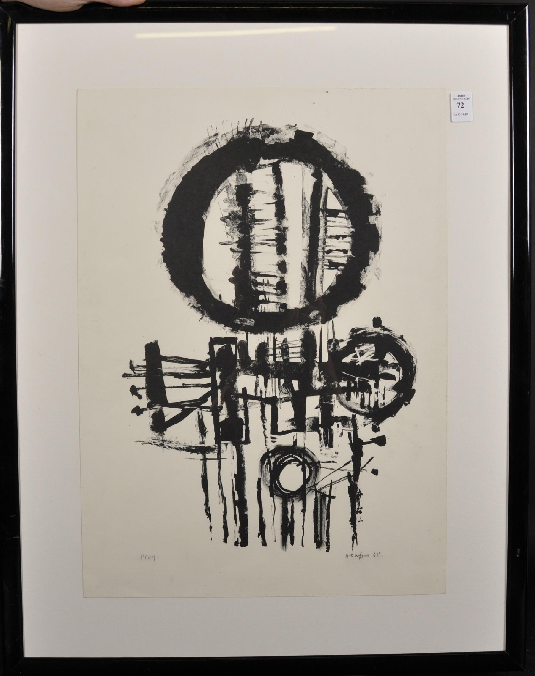 Henry Cliffe (1919-1983) British. 'Black Circles', Lithograph, Signed, Inscribed 'Proof' and - Image 2 of 4