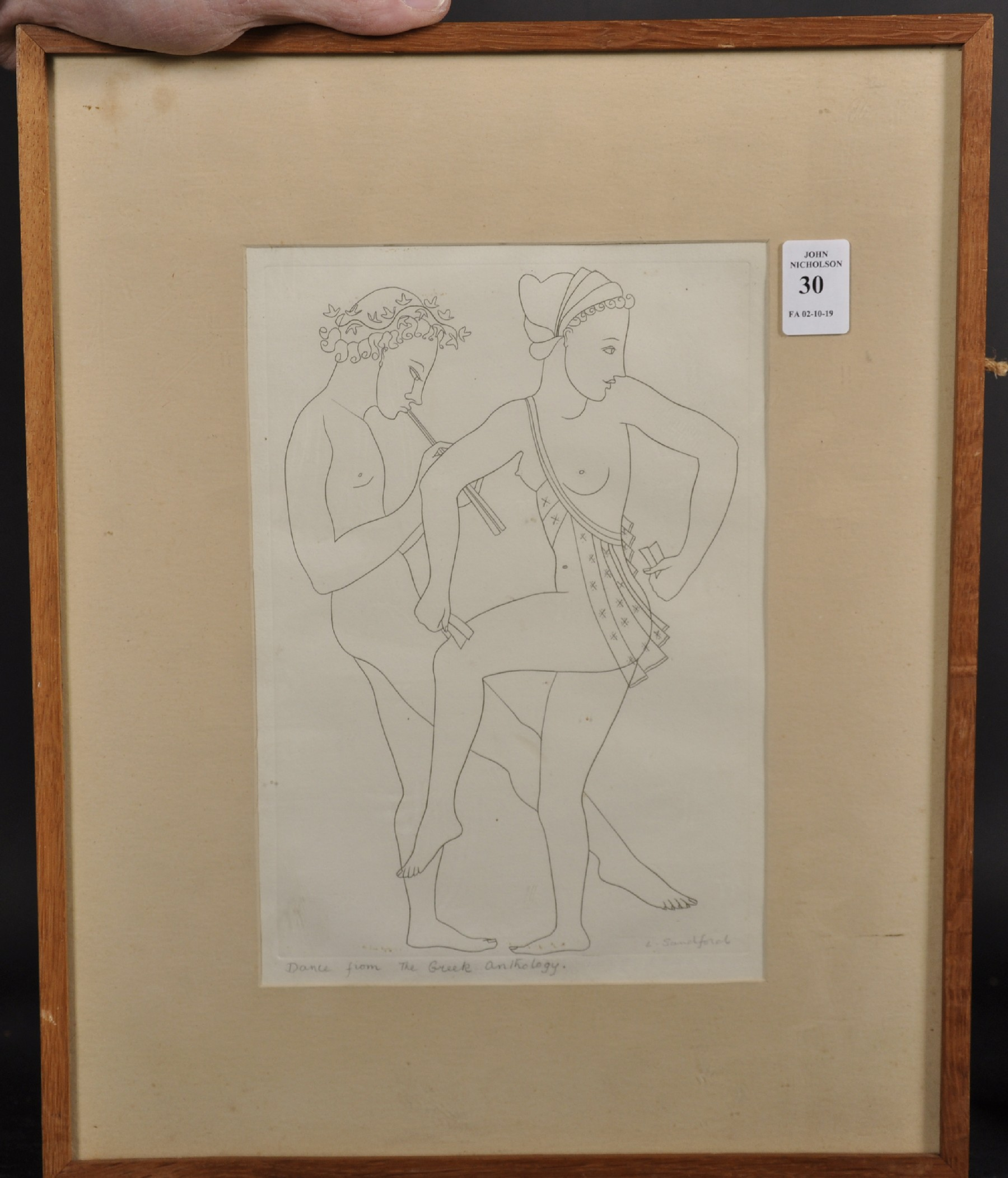 "Lettice Sandford (1902-1993) British. ""Dance From Greek Anthology"", Etching, Signed and Inscribed in - Image 2 of 4"