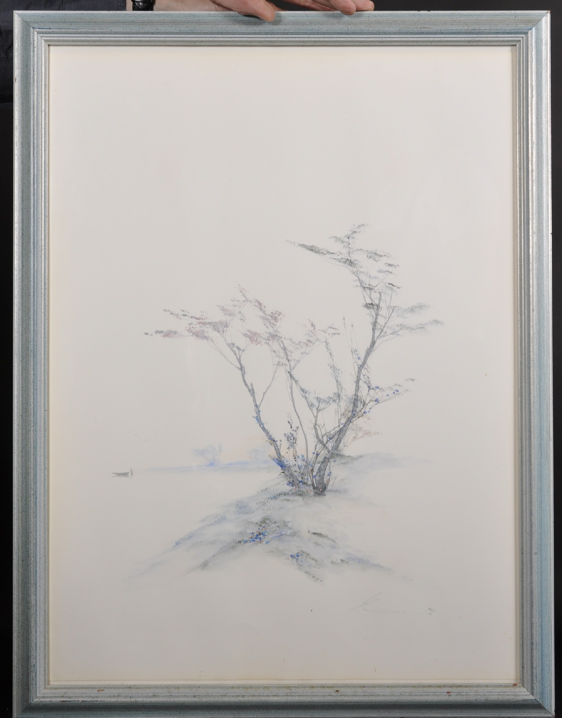 20th Century English School. An Aesthetic Landscape with a Tree, Watercolour, Indistinctly Signed in - Image 3 of 6