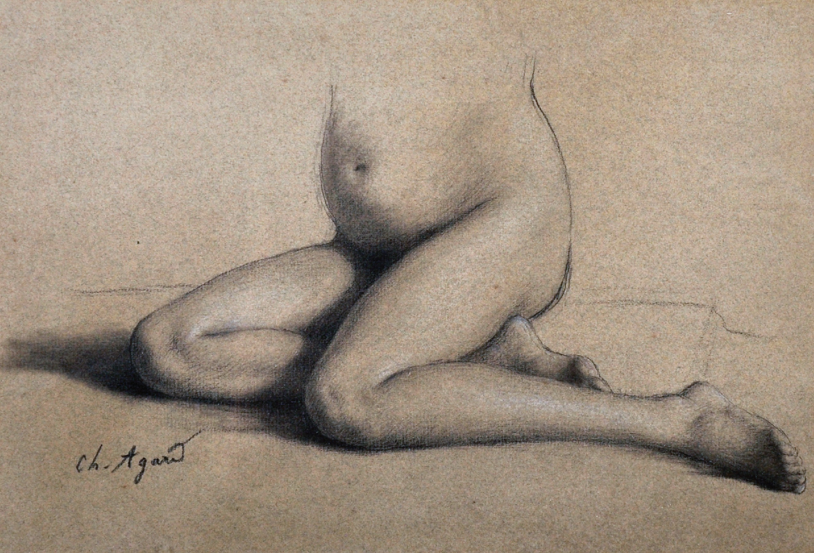 """Charles Jean Agard (1866-1950) French. Study of a Lower Half of a Nude Female, Pencil, Signed, 7.75"""""""