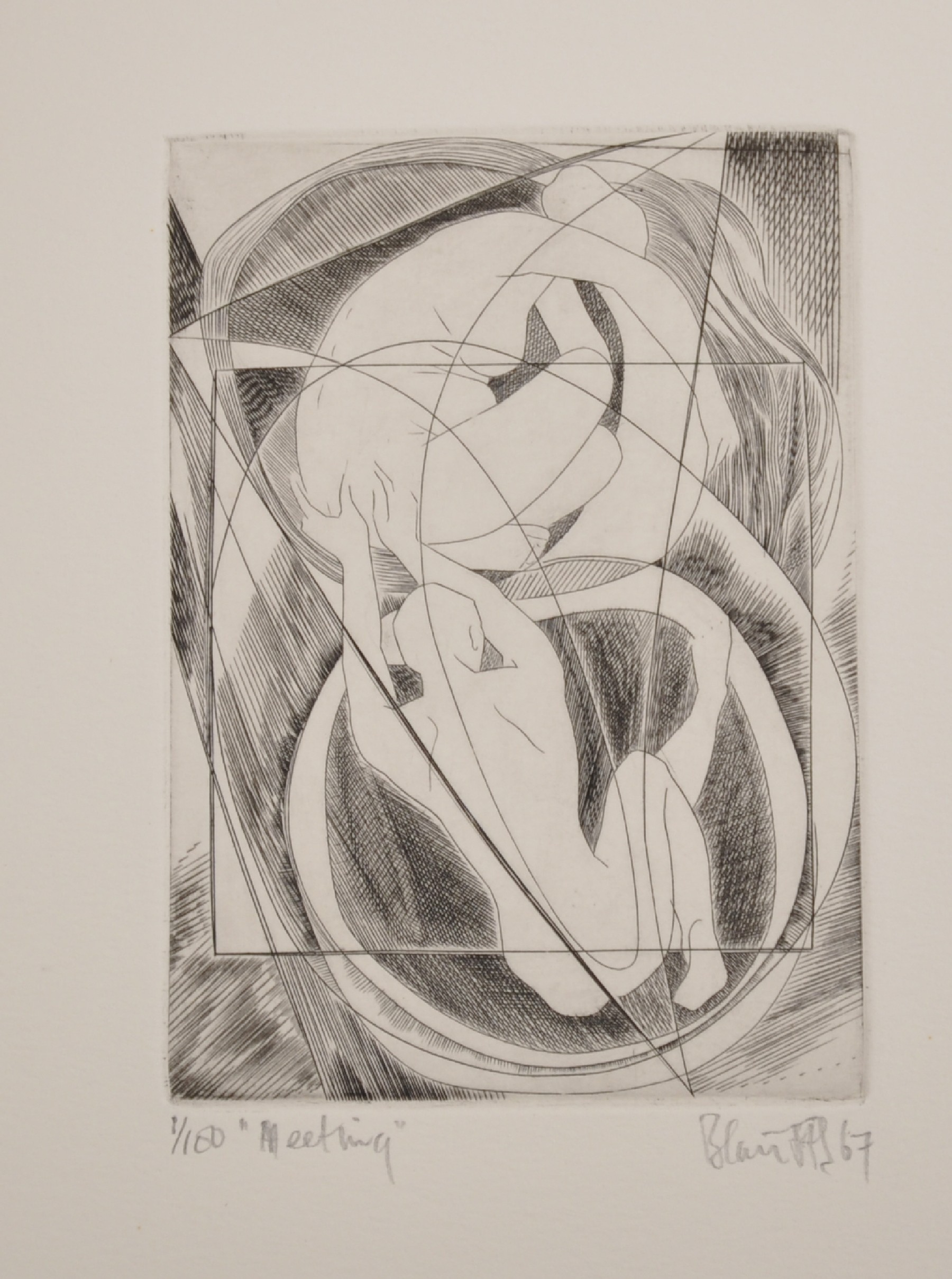 """Blair Hughes-Stanton (1902-1981) British. """"Meeting"""", Etching, Signed, Inscribed, Dated '67 and"""
