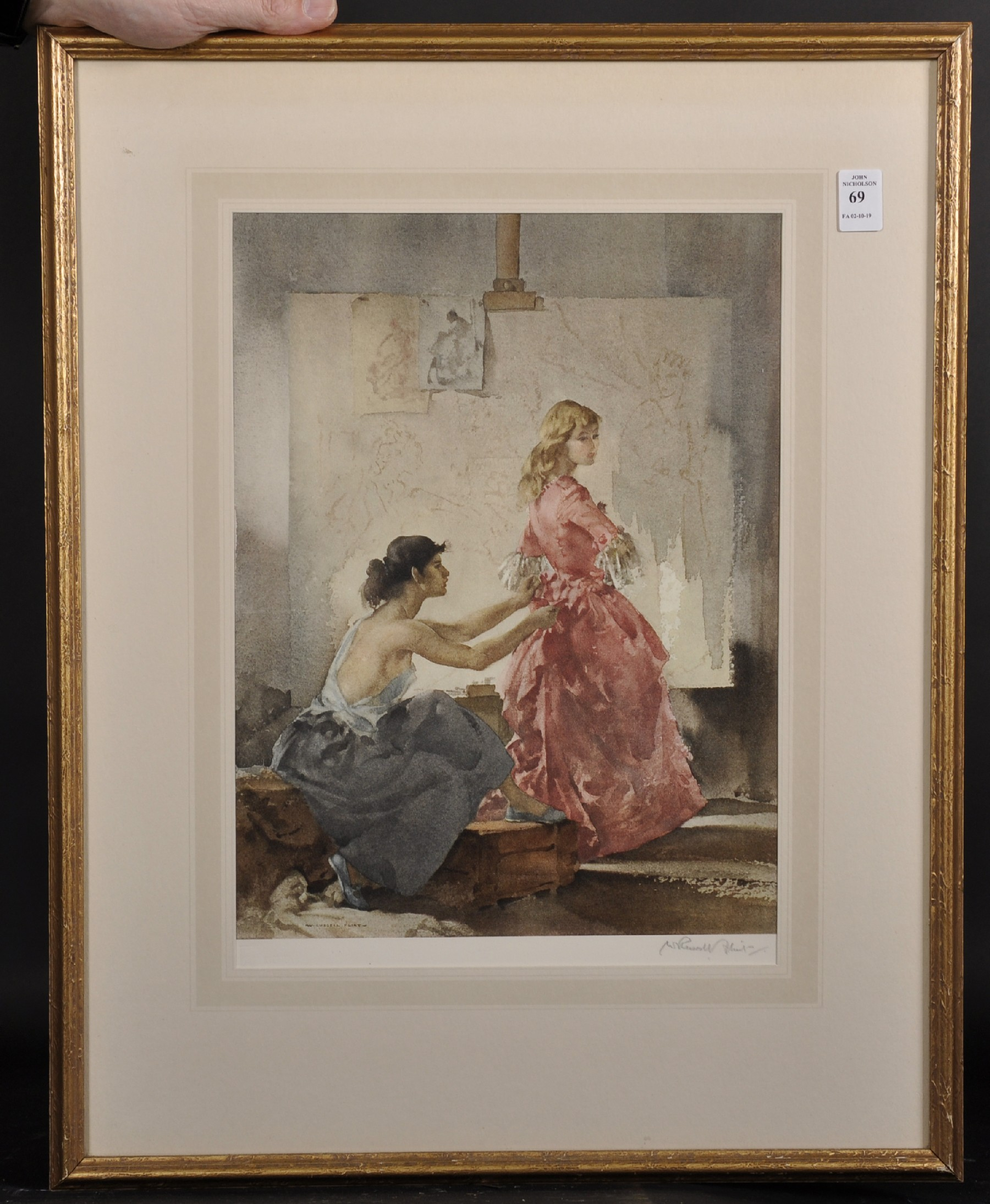 """William Russell Flint (1880-1969) British. """"Two Models, 1960"""", Lithograph, Signed in Pencil and - Image 2 of 5"""