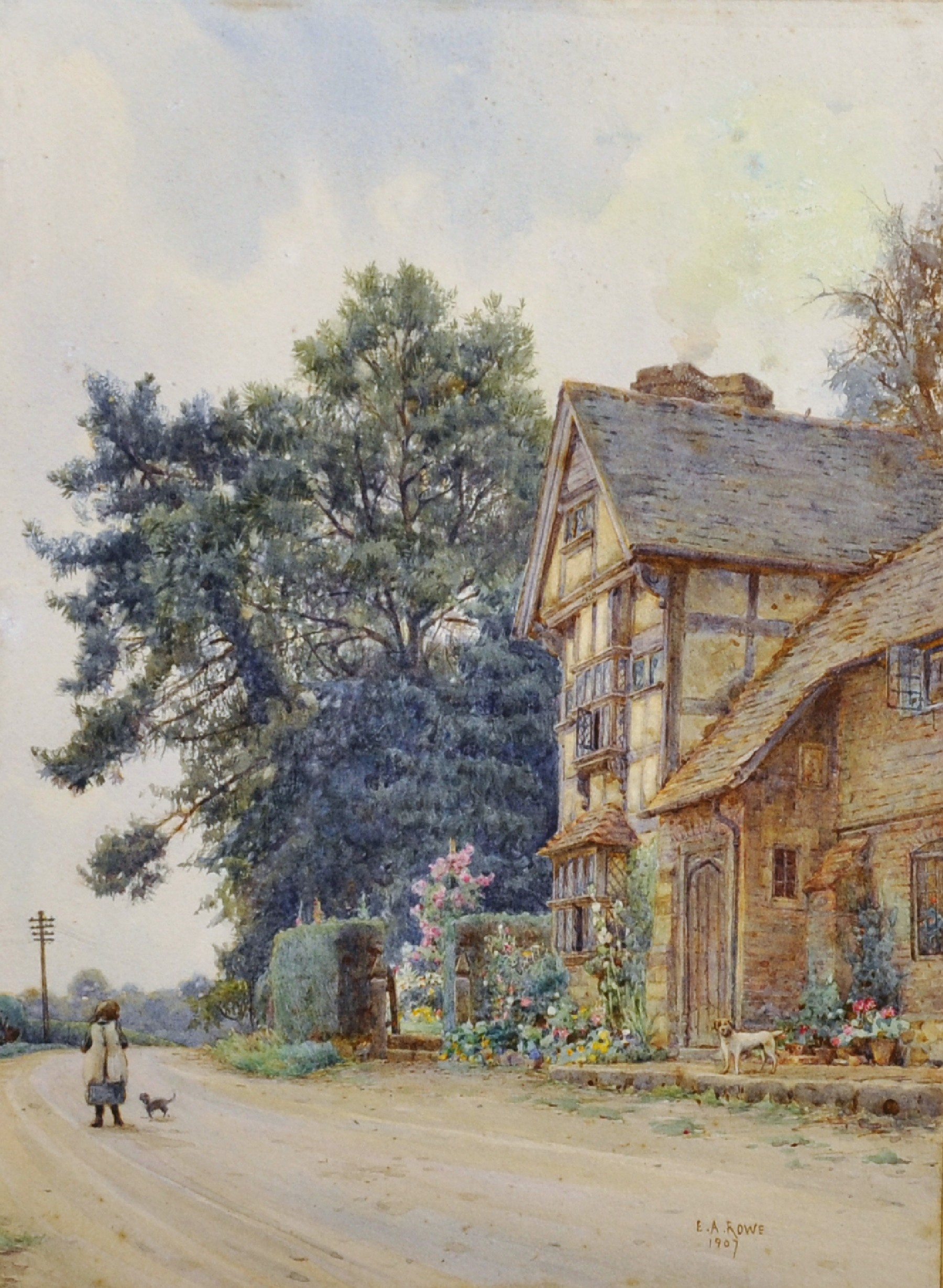 "Ernest Arthur Rowe (1863-1922) British. ""At Penshurst (Kent)"", with Girl and Dog in the"