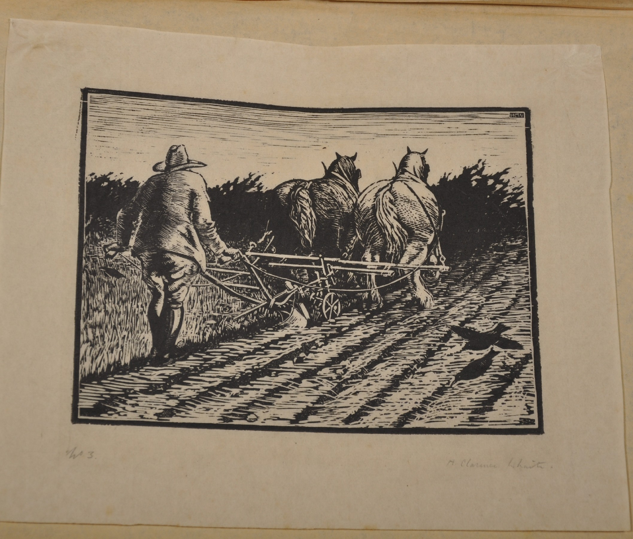 Henry Clarence Whaite (1828-1912) British. A Plough Team, Woodblock, Signed and Numbered '3' in - Image 2 of 6