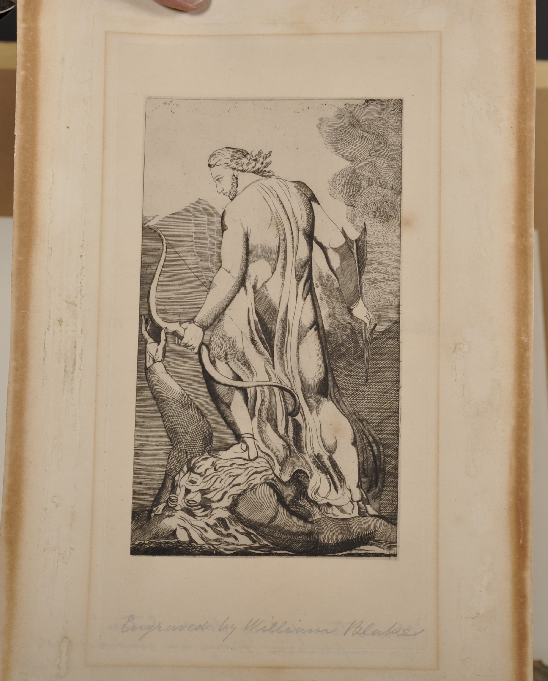 "After William Blake (1757-1827) British. ""Christ Trampling on Satan"", Engraving, Inscribed in - Image 2 of 3"