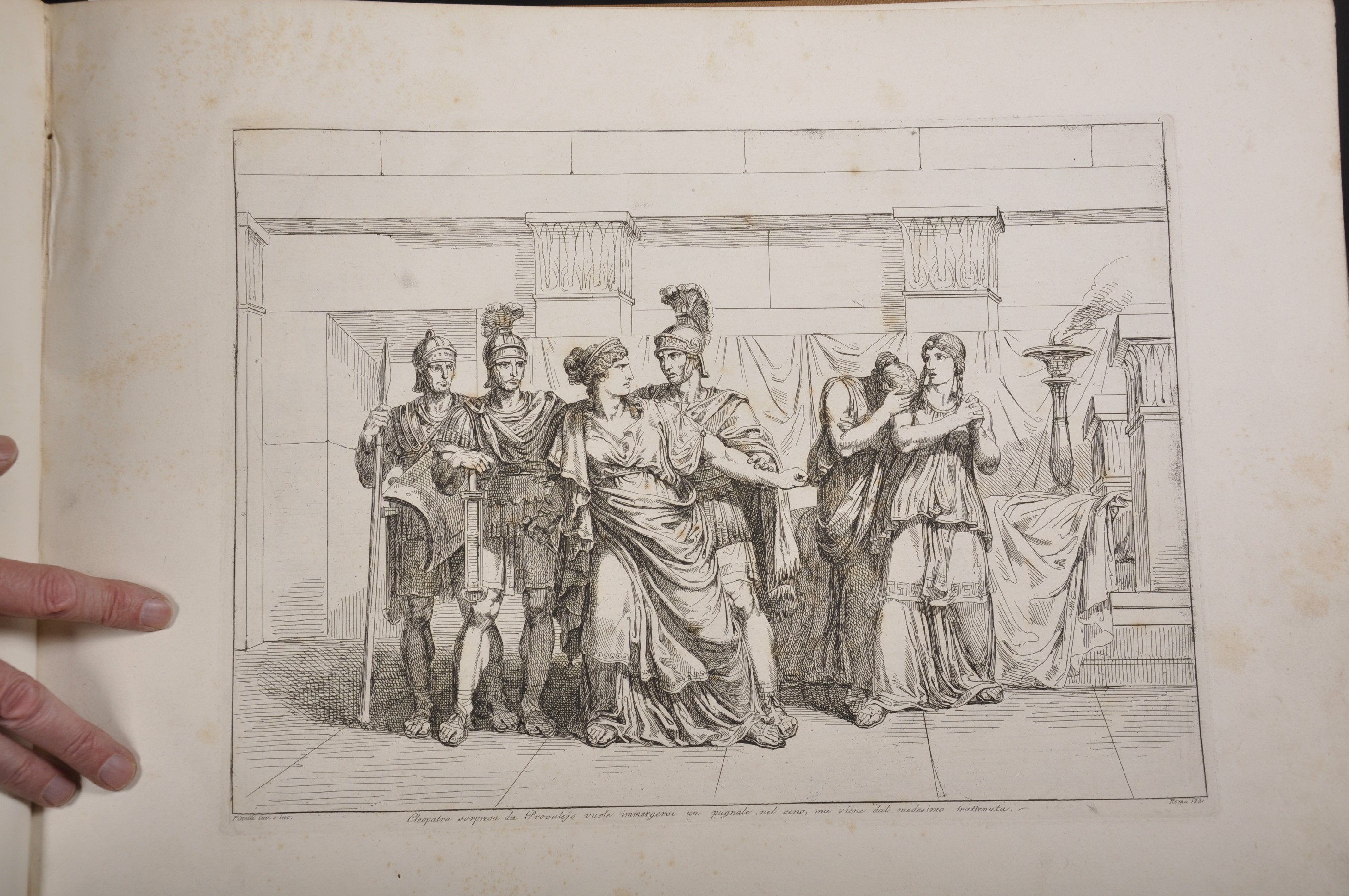 """After Bartolomeo Pinelli (1771-1835) Italian. """"Cleopatra"""", Engraving, 15"""" x 16.5"""", bound in """" - Image 2 of 8"""