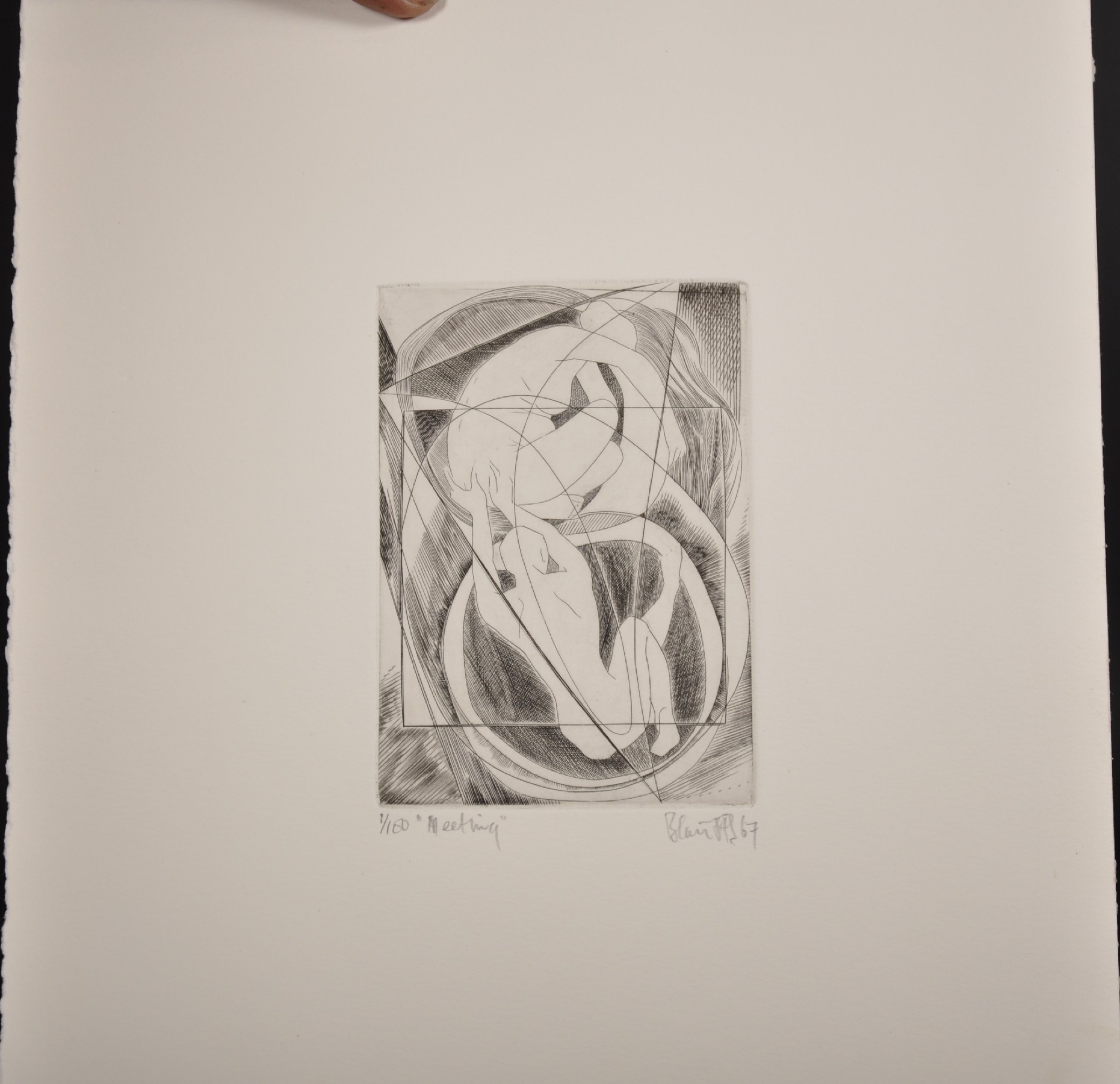 """Blair Hughes-Stanton (1902-1981) British. """"Meeting"""", Etching, Signed, Inscribed, Dated '67 and - Image 2 of 6"""
