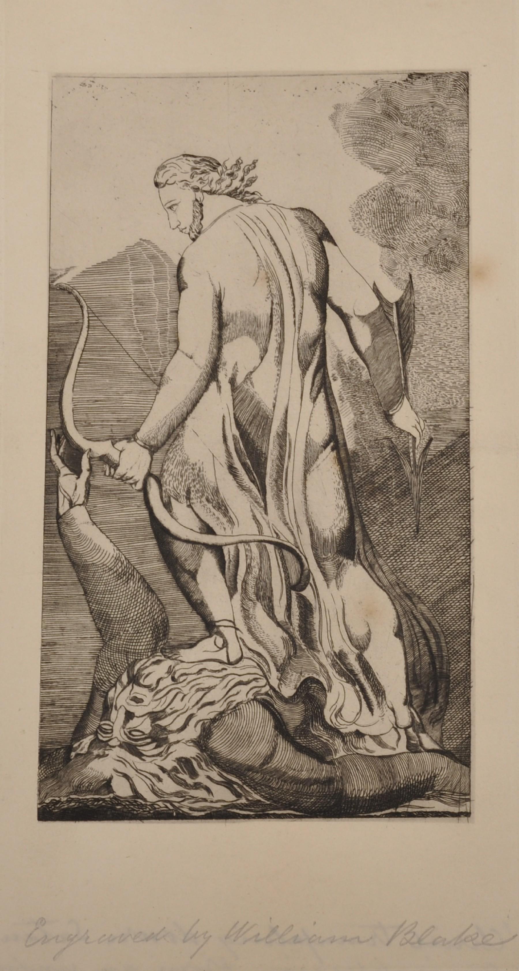 "After William Blake (1757-1827) British. ""Christ Trampling on Satan"", Engraving, Inscribed in"