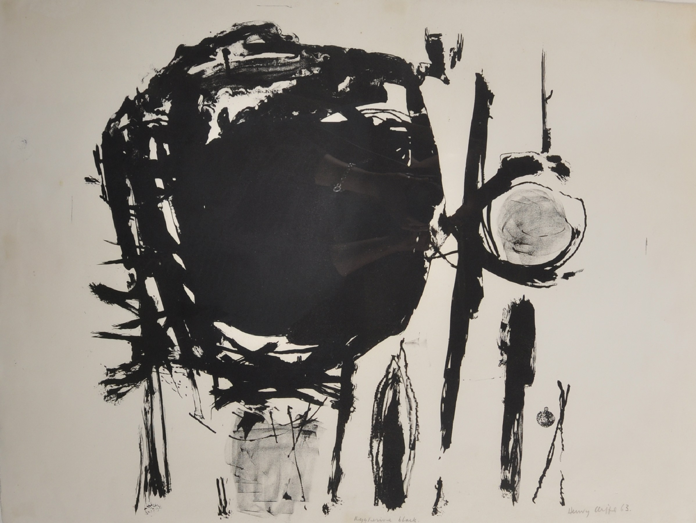"""Henry Cliffe (1919-1983) British. """"Aggresive [sic] Black"""", Lithograph, Signed, Inscribed and"""