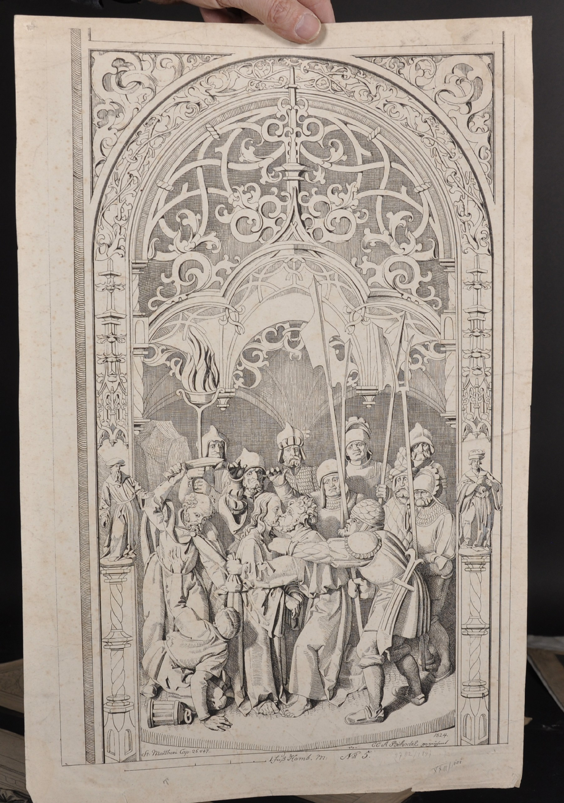 After Conrad Christian A... Boehndel (1779-1847) Danish. Design for an Altarpiece, Engraving, - Image 3 of 4