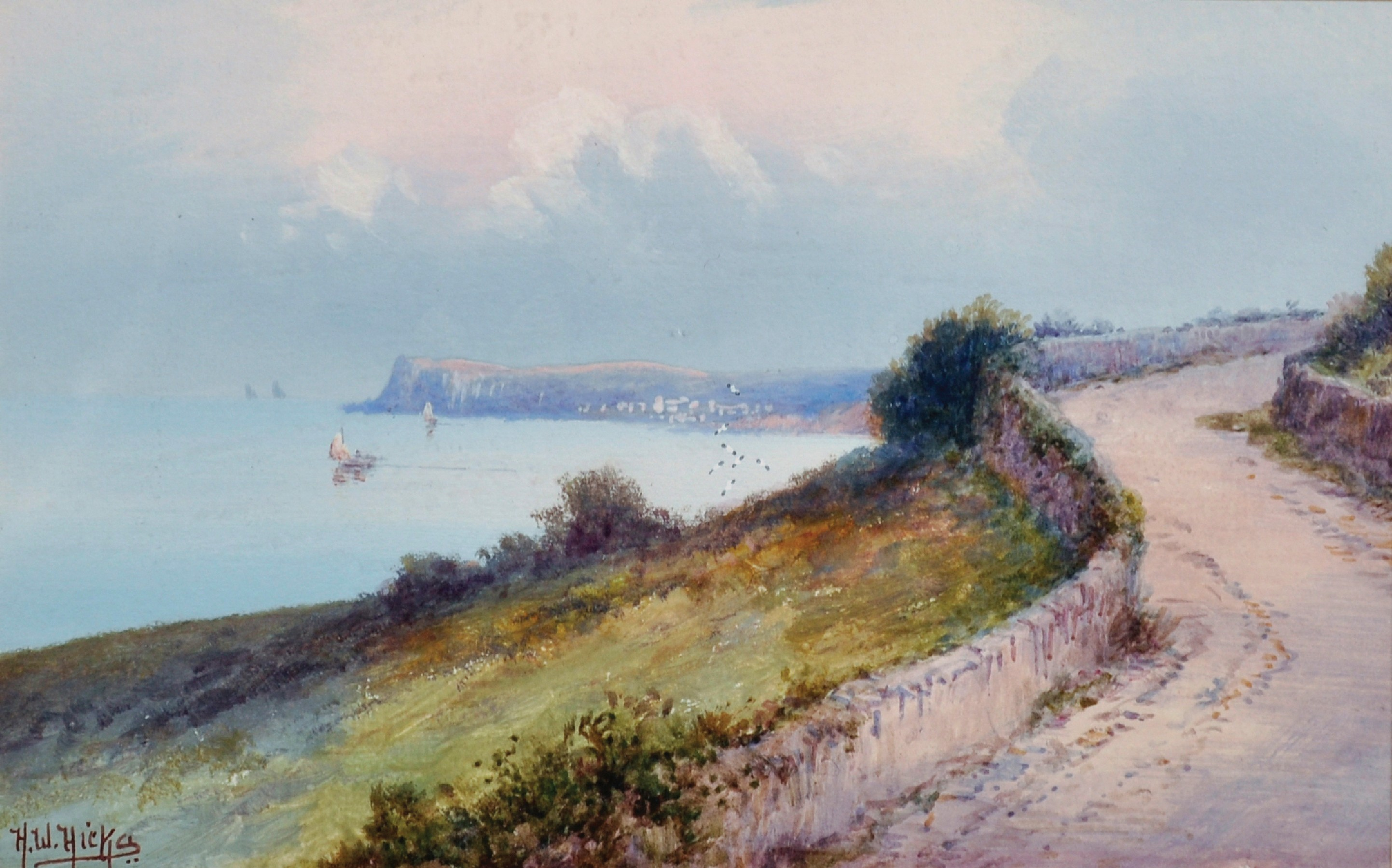 Herbert William Hicks (1880-1944) British. 'Torbay', a Path on a Coastal View, Watercolour,
