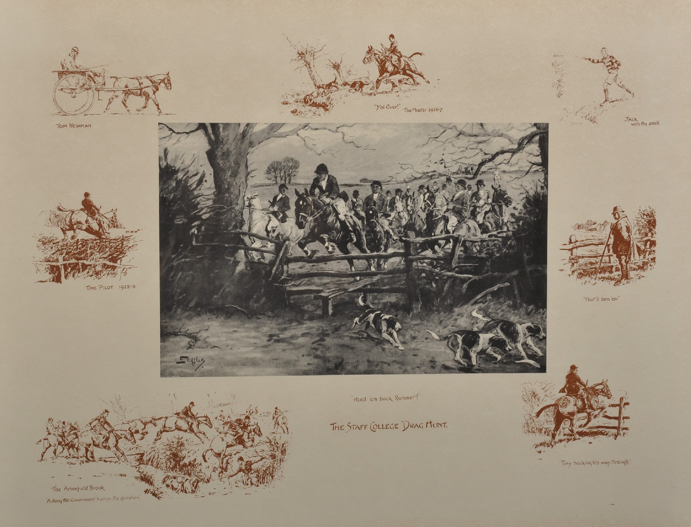 "Charles Johnson Payne 'Snaffles' (1884-1967) British. ""The Staff College Drag Hunt"", Print, 16.5"""