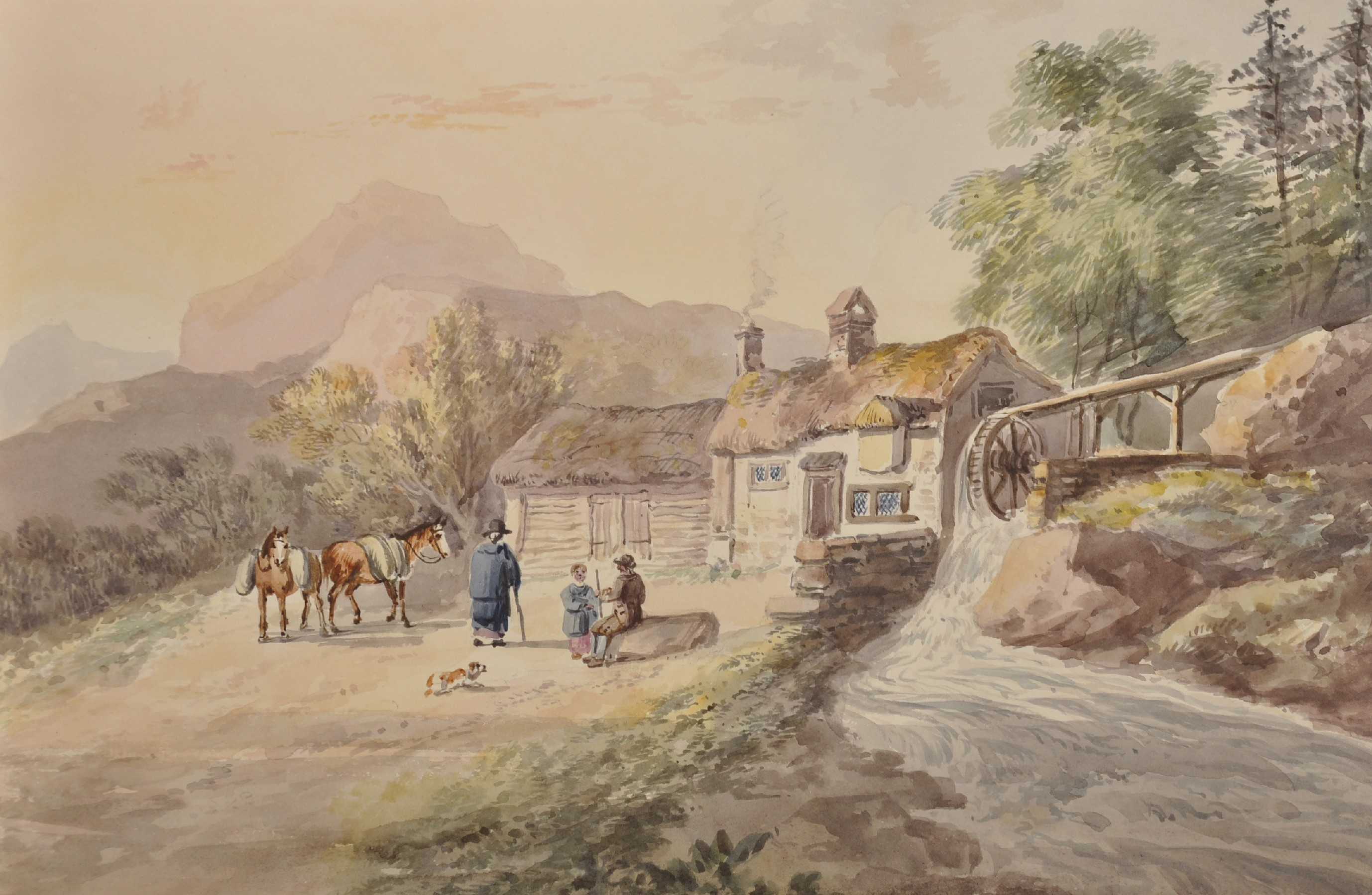 John Laporte (1761-1839) British. A River Landscape, with Figures Walking towards a Church, - Image 4 of 12