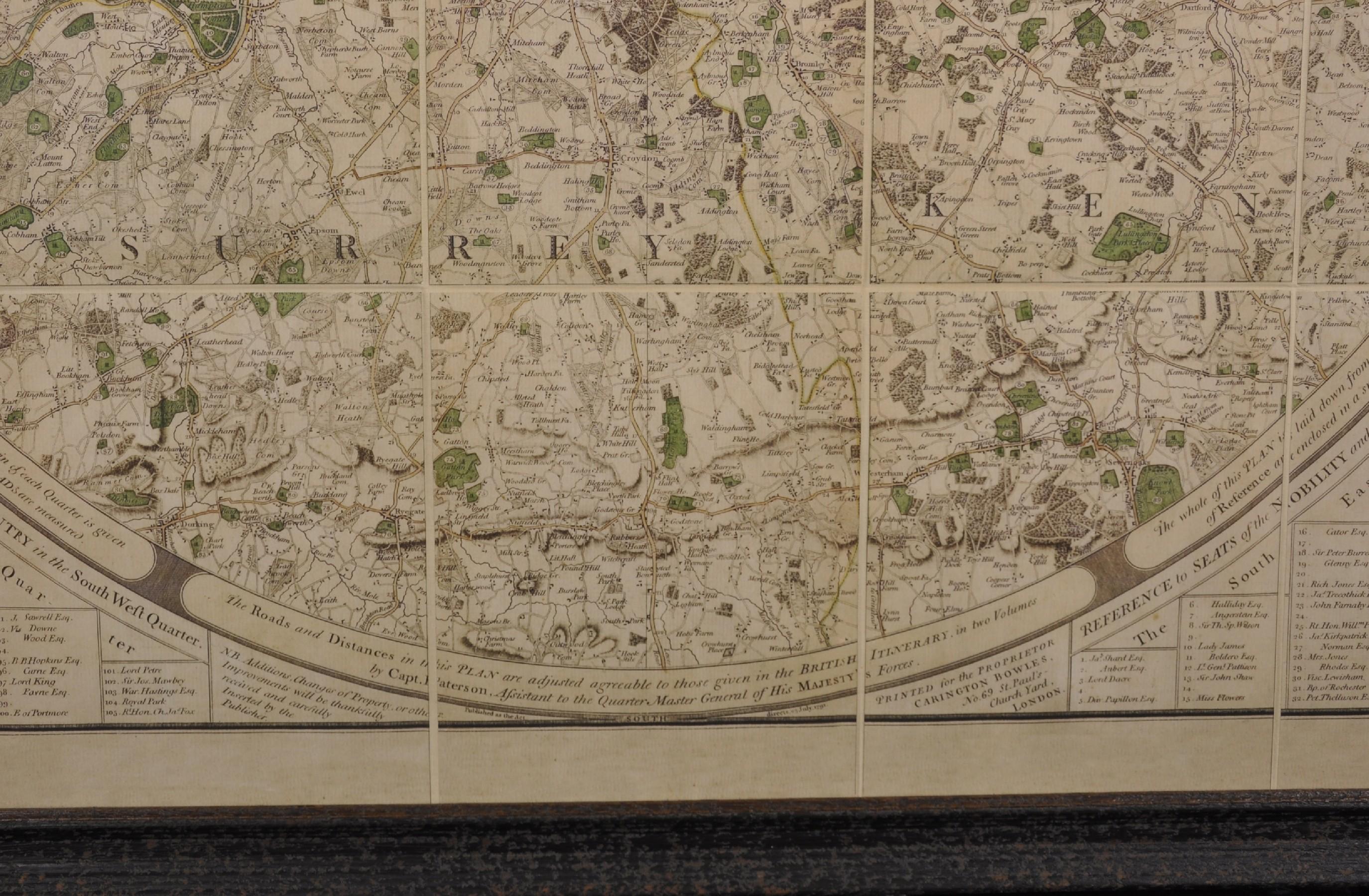 "Captain Daniel Paterson (1739-1825) British. ""Patersons Twenty Four Miles Round London, with - Image 3 of 4"