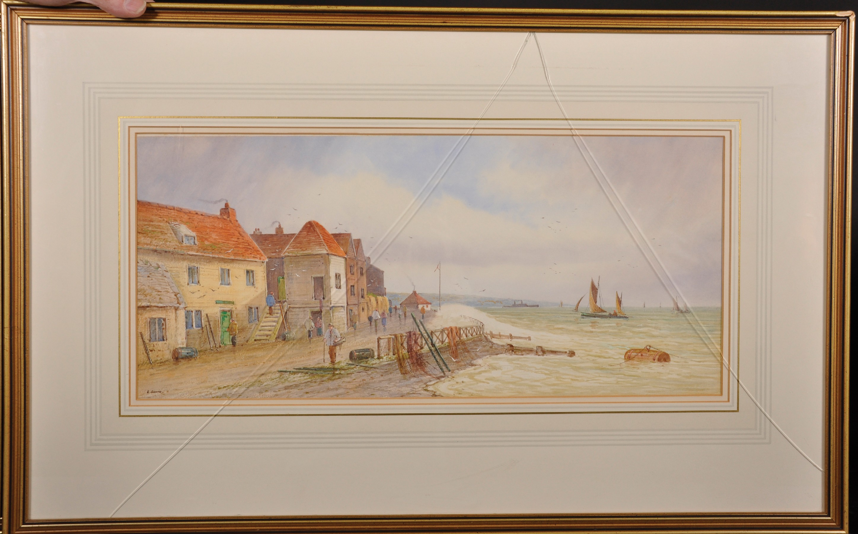E... Lewis (19th - 20th Century) British. A Coastal Scene with Shipping, and Figures by Houses, - Image 4 of 7