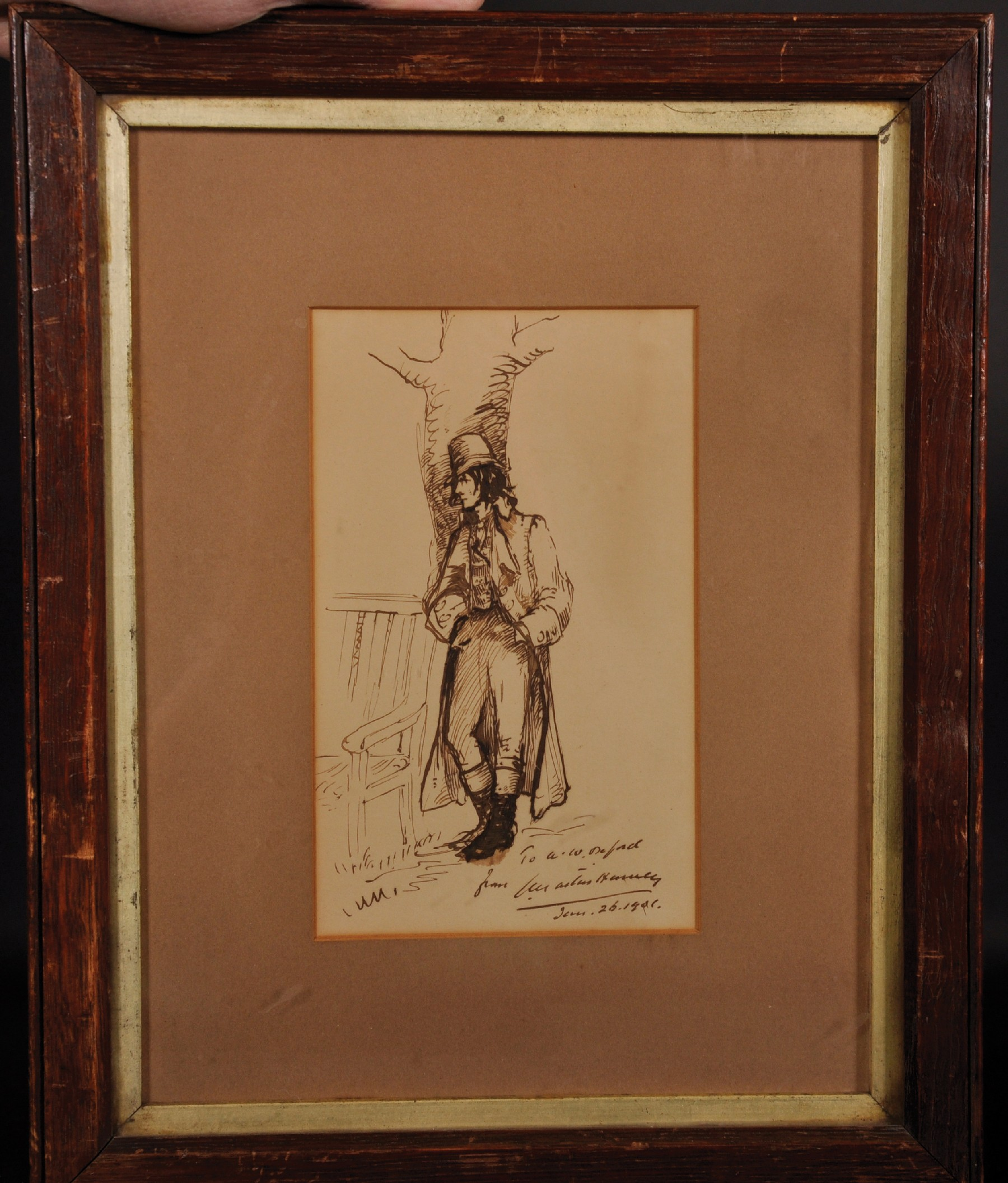 Augustus Hawley (19th- 20th Century) British. Study of a Horseman leaning against a Tree by a Bench, - Image 2 of 4