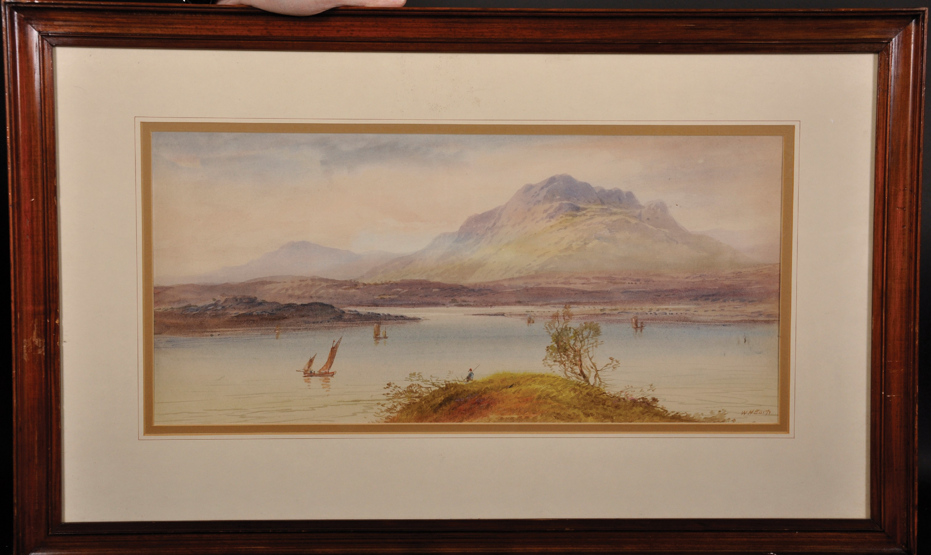 """William Henry Earp (1833- ) British. A Mountainous River Landscape, Watercolour, Signed, 10"""" x 21. - Image 3 of 7"""