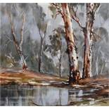 Attributed to Judy Henshaw (1936- ) Australian. A Tranquil River Landscape, Watercolour,