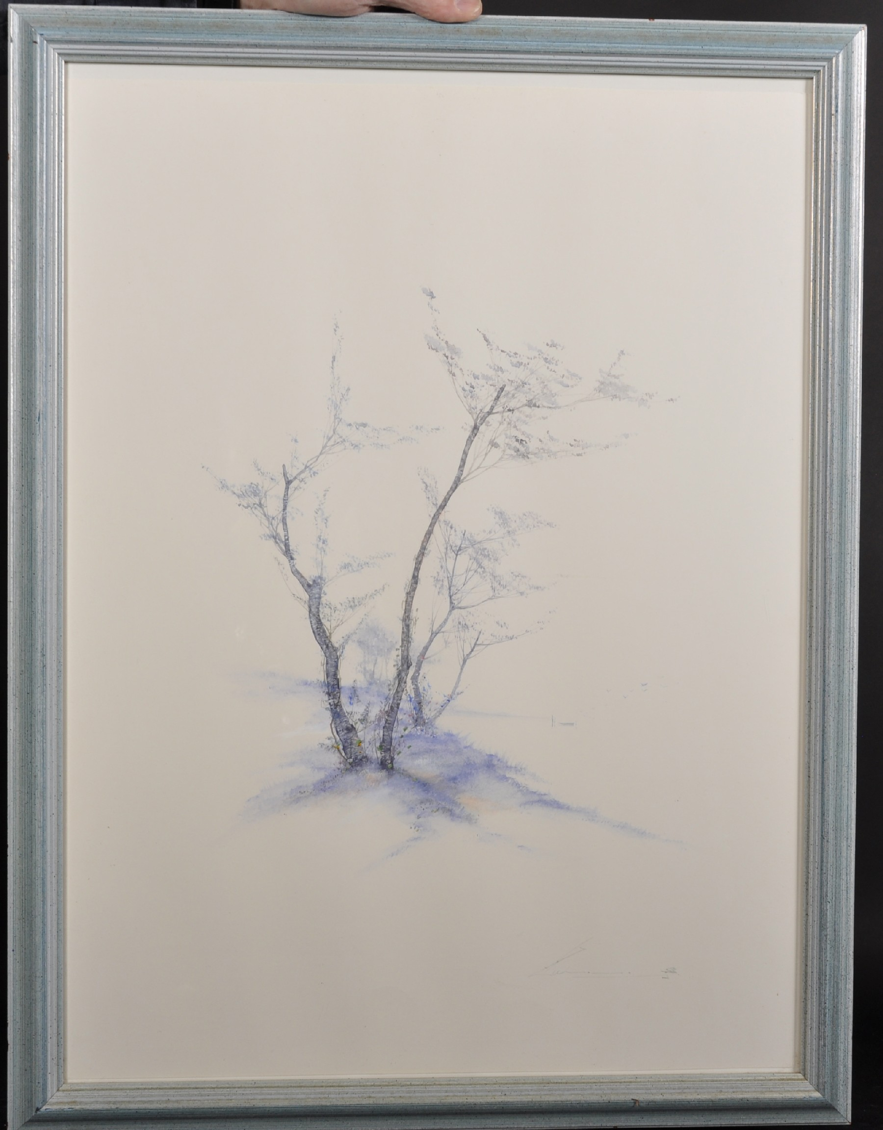 20th Century English School. An Aesthetic Landscape with a Tree, Watercolour, Indistinctly Signed in - Image 2 of 6
