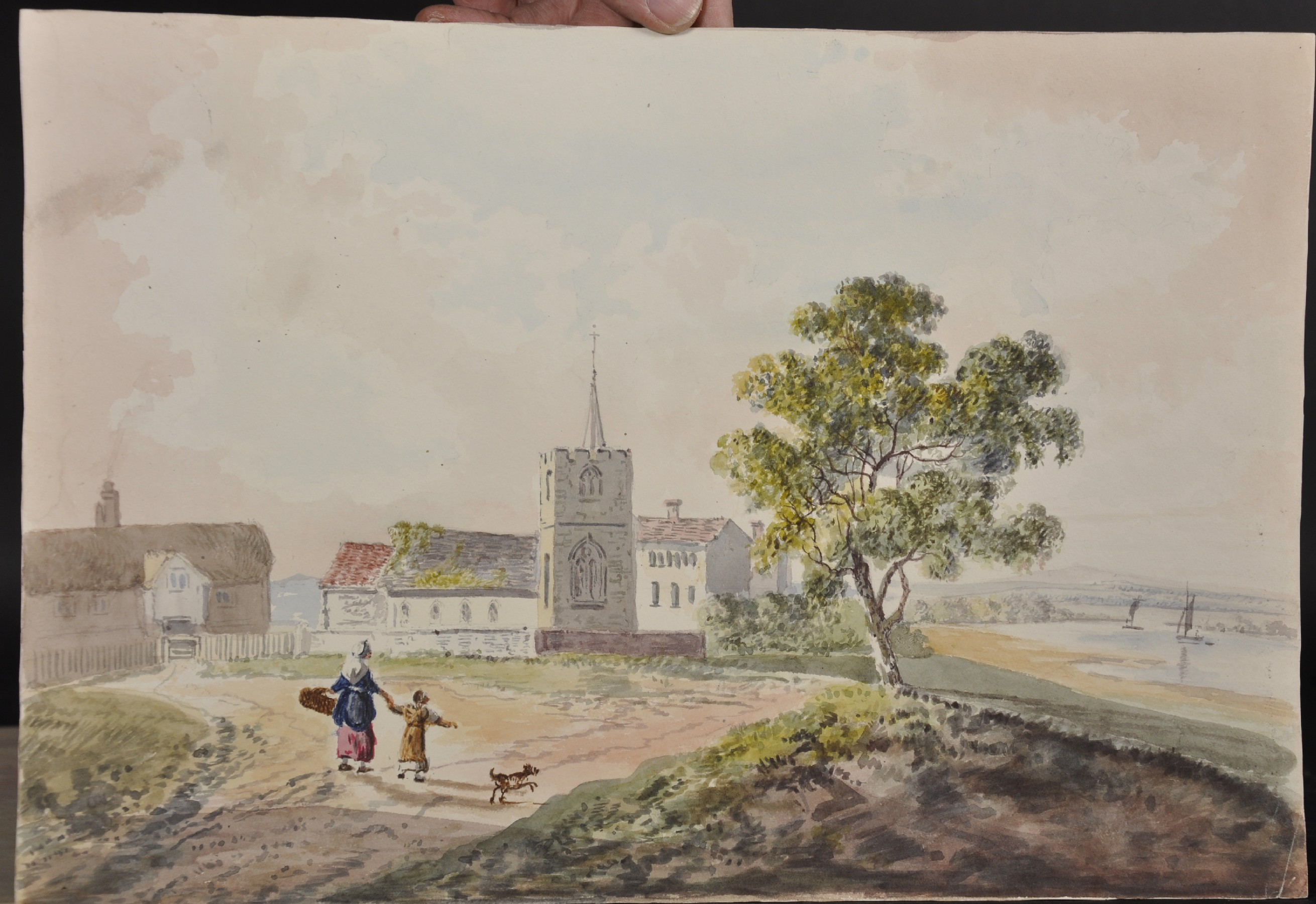 John Laporte (1761-1839) British. A River Landscape, with Figures Walking towards a Church, - Image 7 of 12
