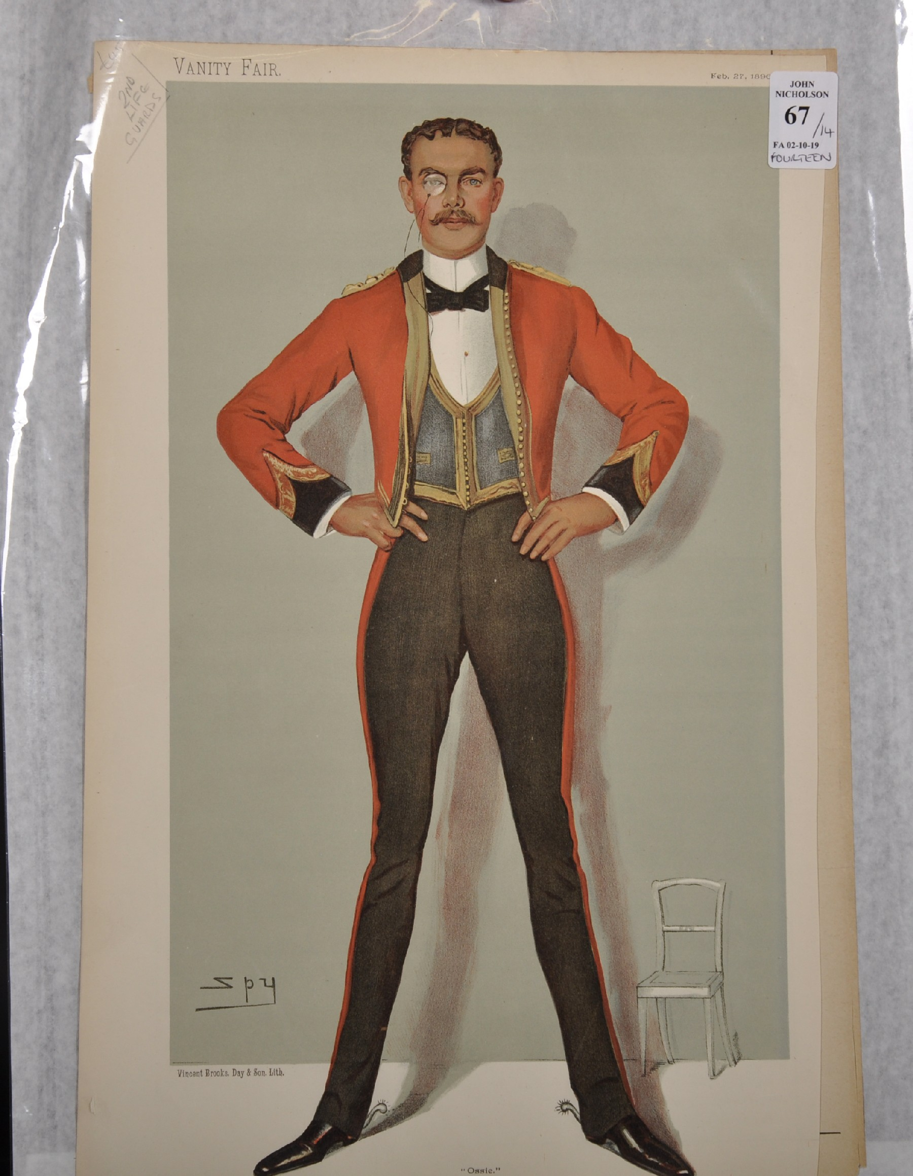 "Leslie Ward 'Spy' (1851-1922) British. ""Ossie"", Study of a Guards Officer in Mess Kit from Vanity - Image 2 of 6"