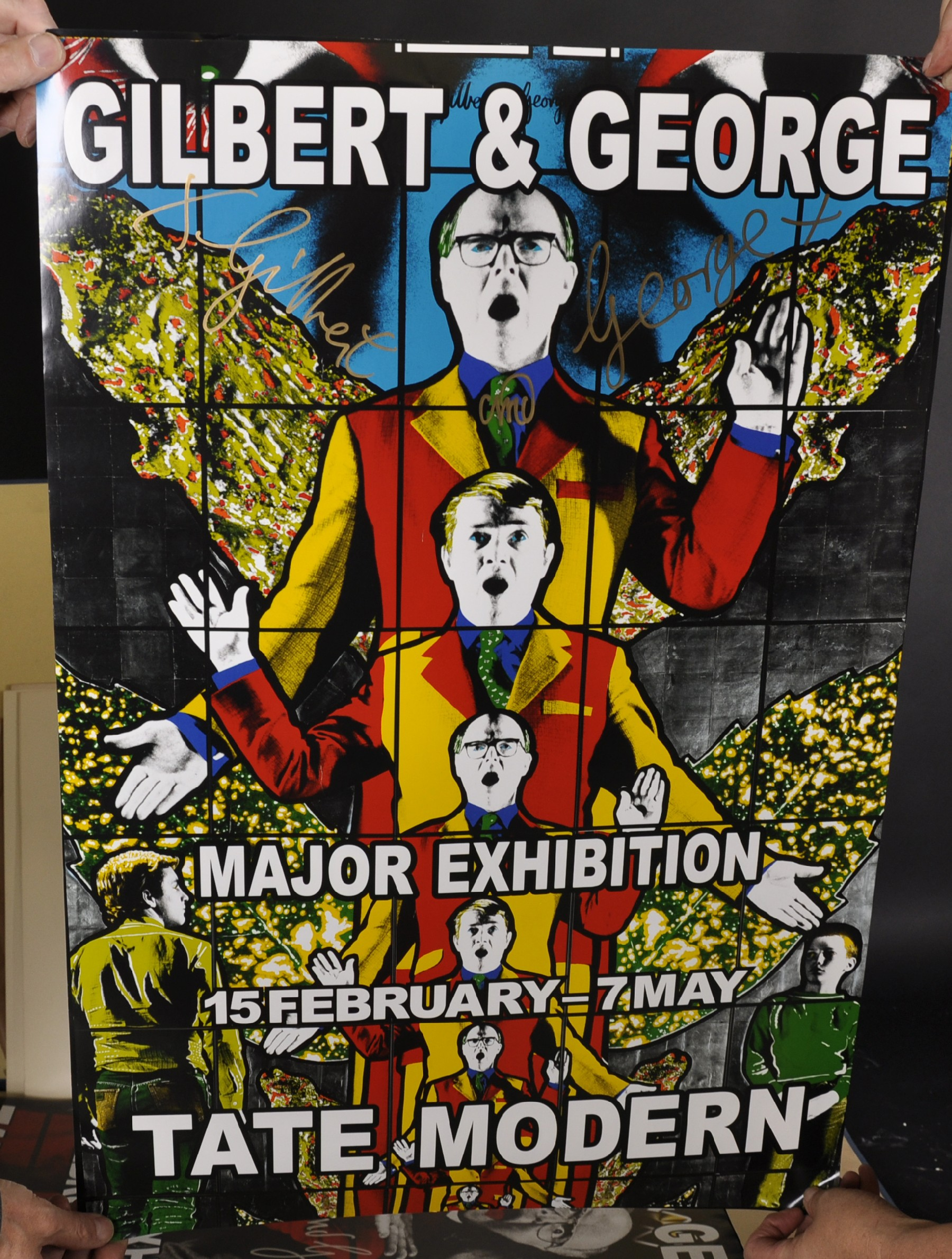"Gilbert and George (20th - 21st Century) British. ""Major Exhibition Tate Modern"", Poster, Signed - Image 5 of 6"