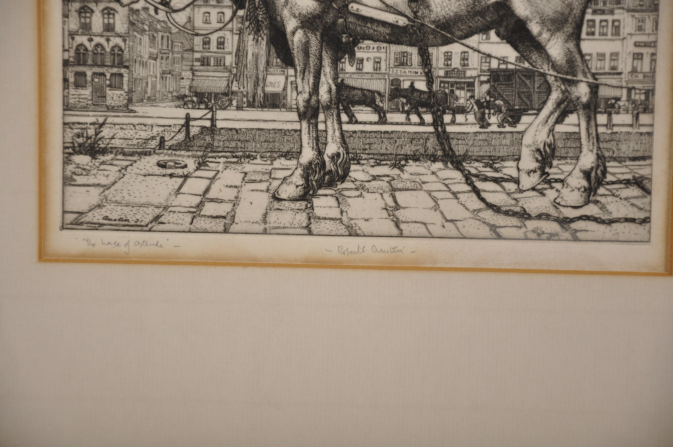 "Robert Sargent Austin (1895-1973) British. ""The Horse of Ostend"", Etching, Signed and Inscribed in - Image 3 of 4"