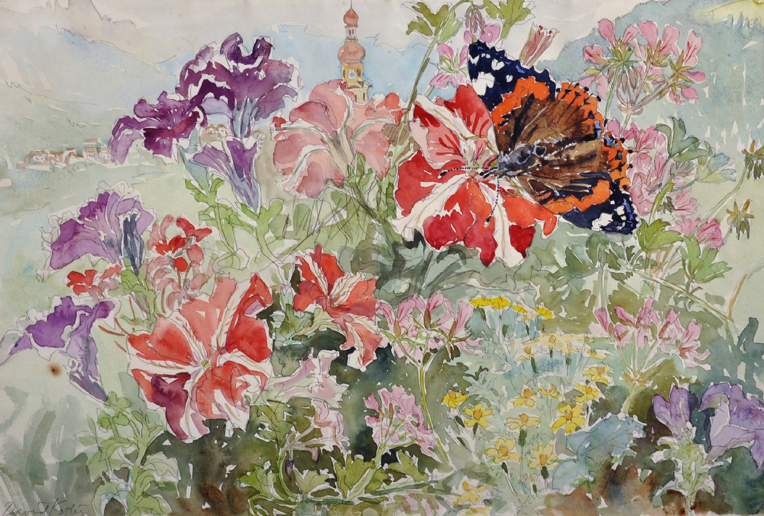 David Koster (1926- ) British. Still Life of Flowers in a Garden, with a Minaret in the distance,