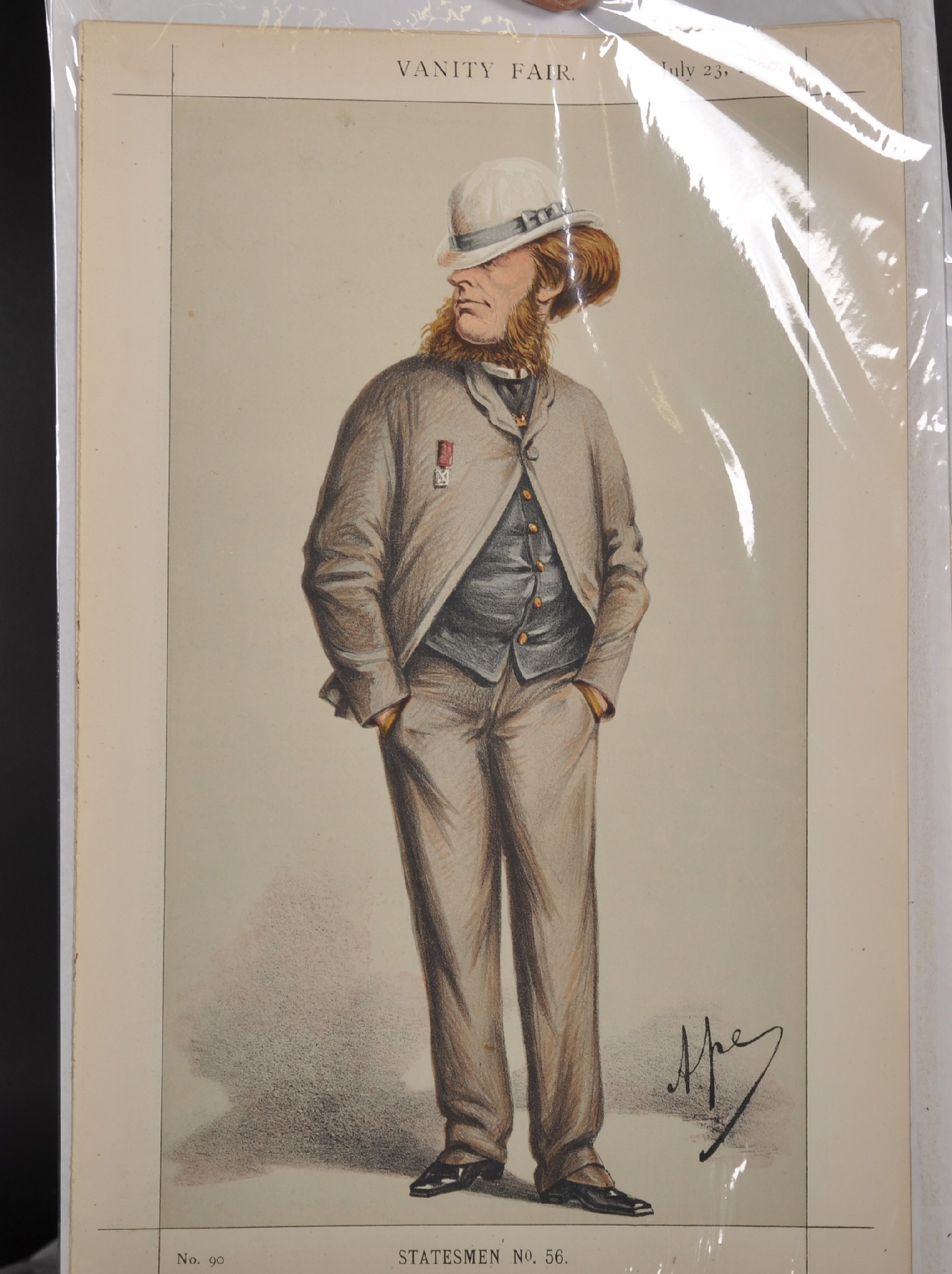 "Leslie Ward 'Spy' (1851-1922) British. ""Ossie"", Study of a Guards Officer in Mess Kit from Vanity - Image 4 of 6"