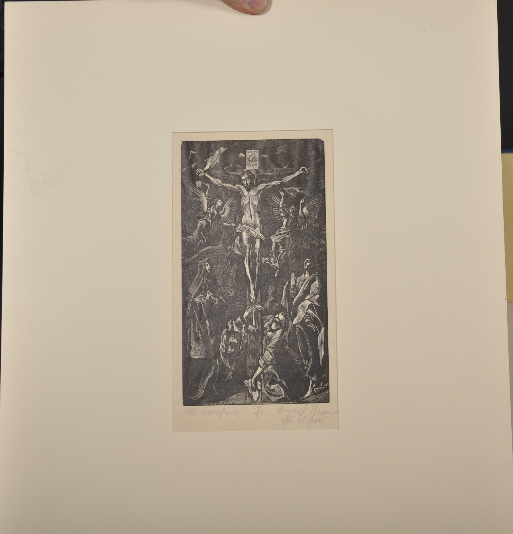 D. Margaret Bryan (19th - 20th Century) British. 'The Crucifixion', after El Greco, Woodcut, Signed, - Image 2 of 3