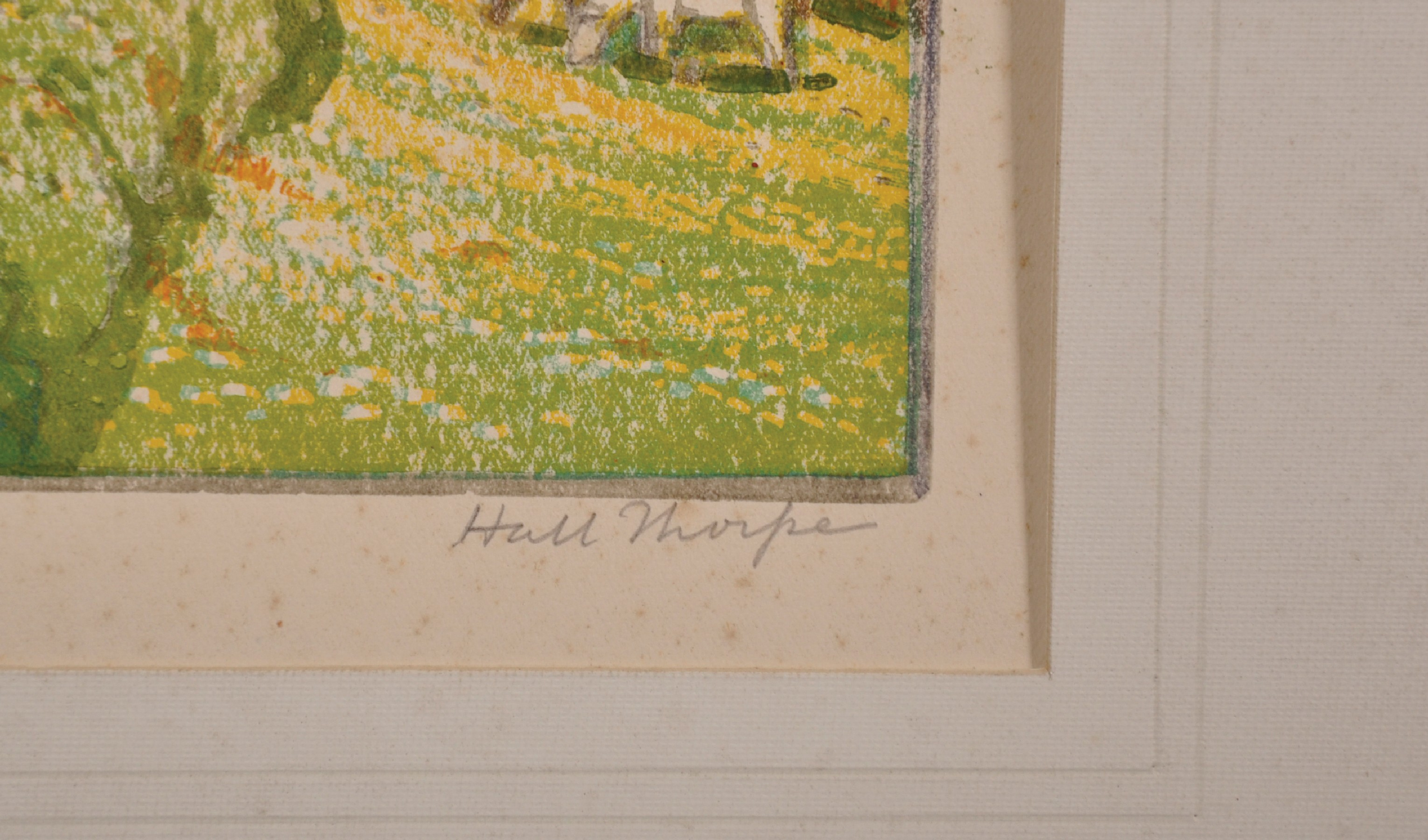John Hall Thorpe (1874-1947) British. Cows in a Meadow by a Village Road, Woodcut in Colours, Signed - Image 3 of 3