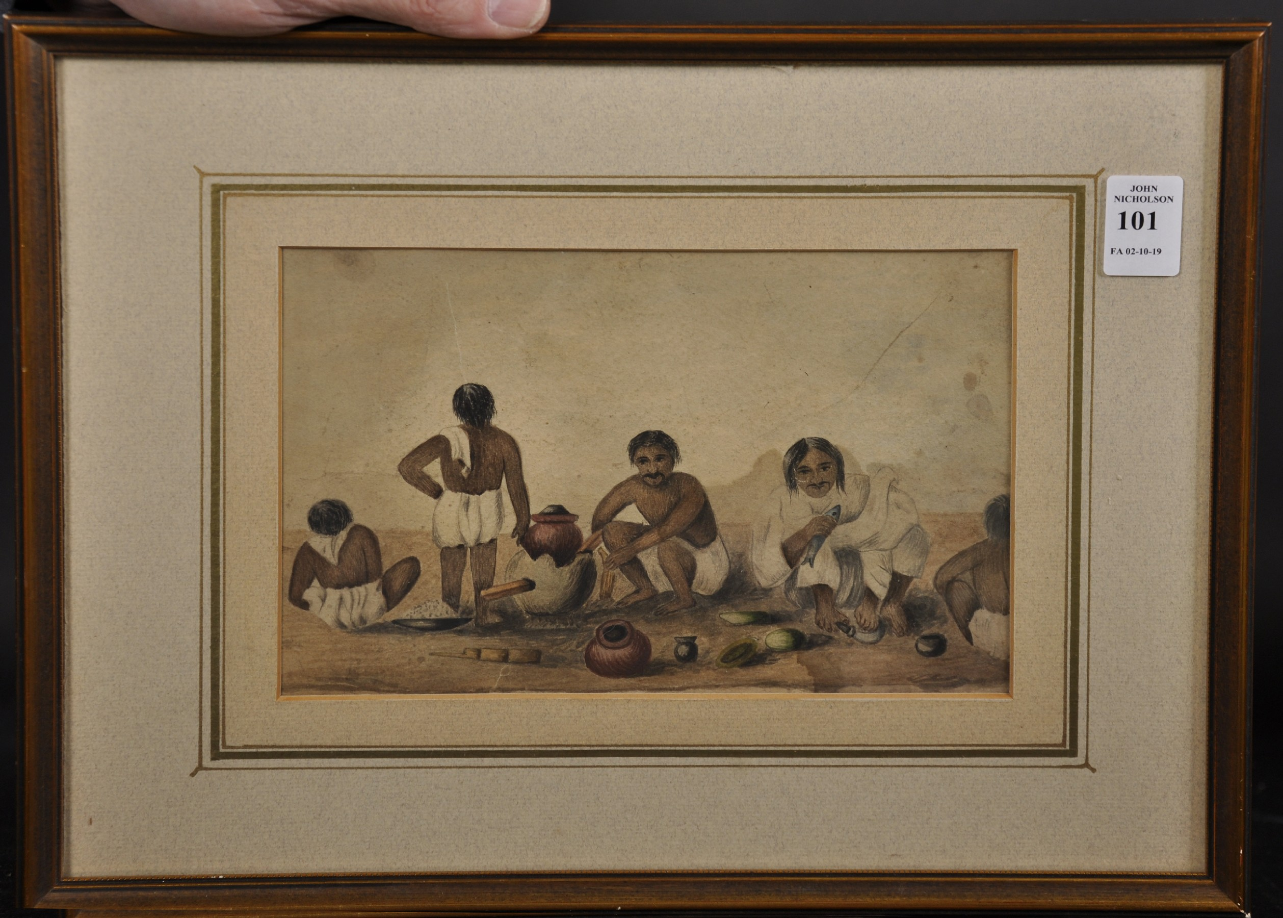 """19th Century Anglo-Indian School. Figures Preparing a Meal, Watercolour, 5.5"""" x 8.5"""". - Image 2 of 3"""