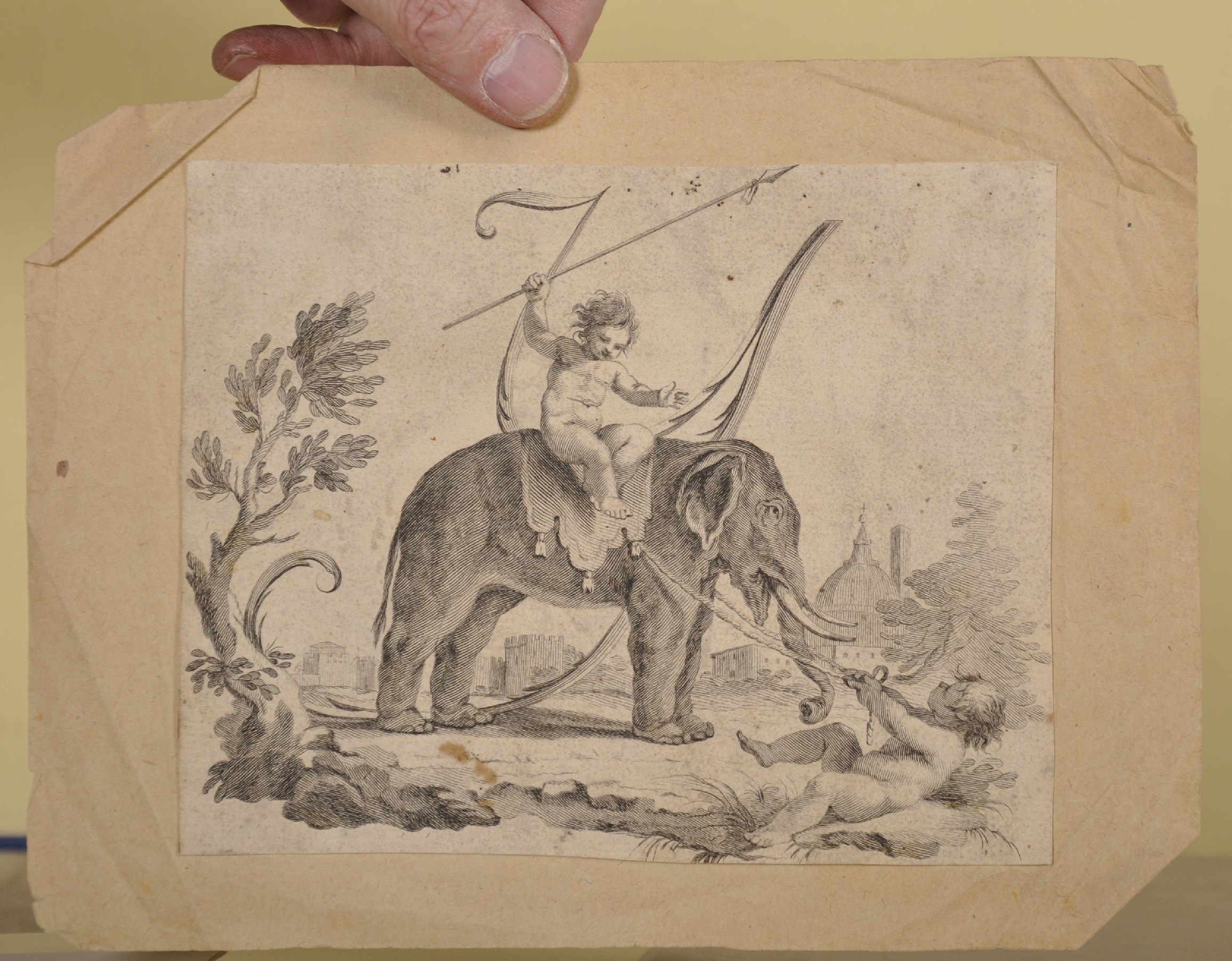 """18th Century Italian School. Cupids with an Elephant, Engraving, Unframed, 6"""" x 7.5"""", and Seven - Image 2 of 9"""
