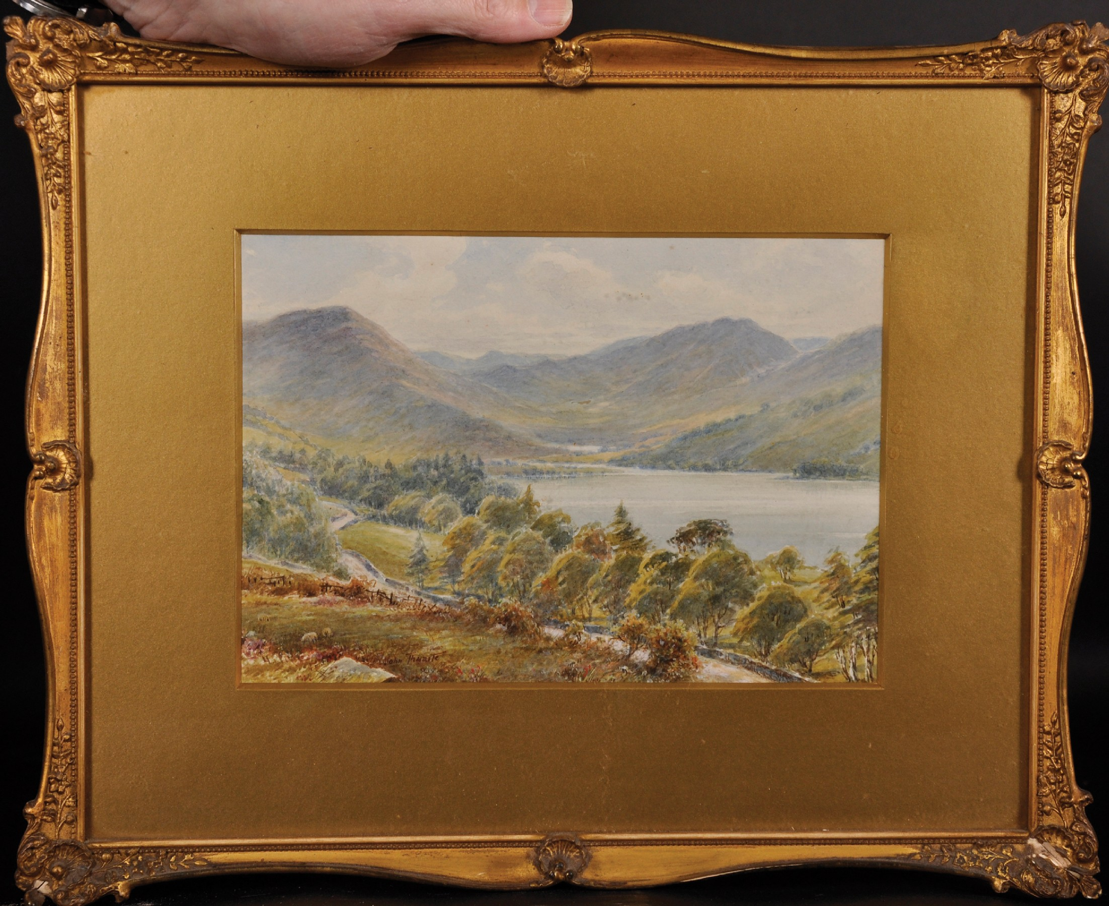 """John Thwaite (19th - 20th Century) British. """"Head of Buttermere"""", Watercolour, Signed, and Inscribed - Image 2 of 5"""