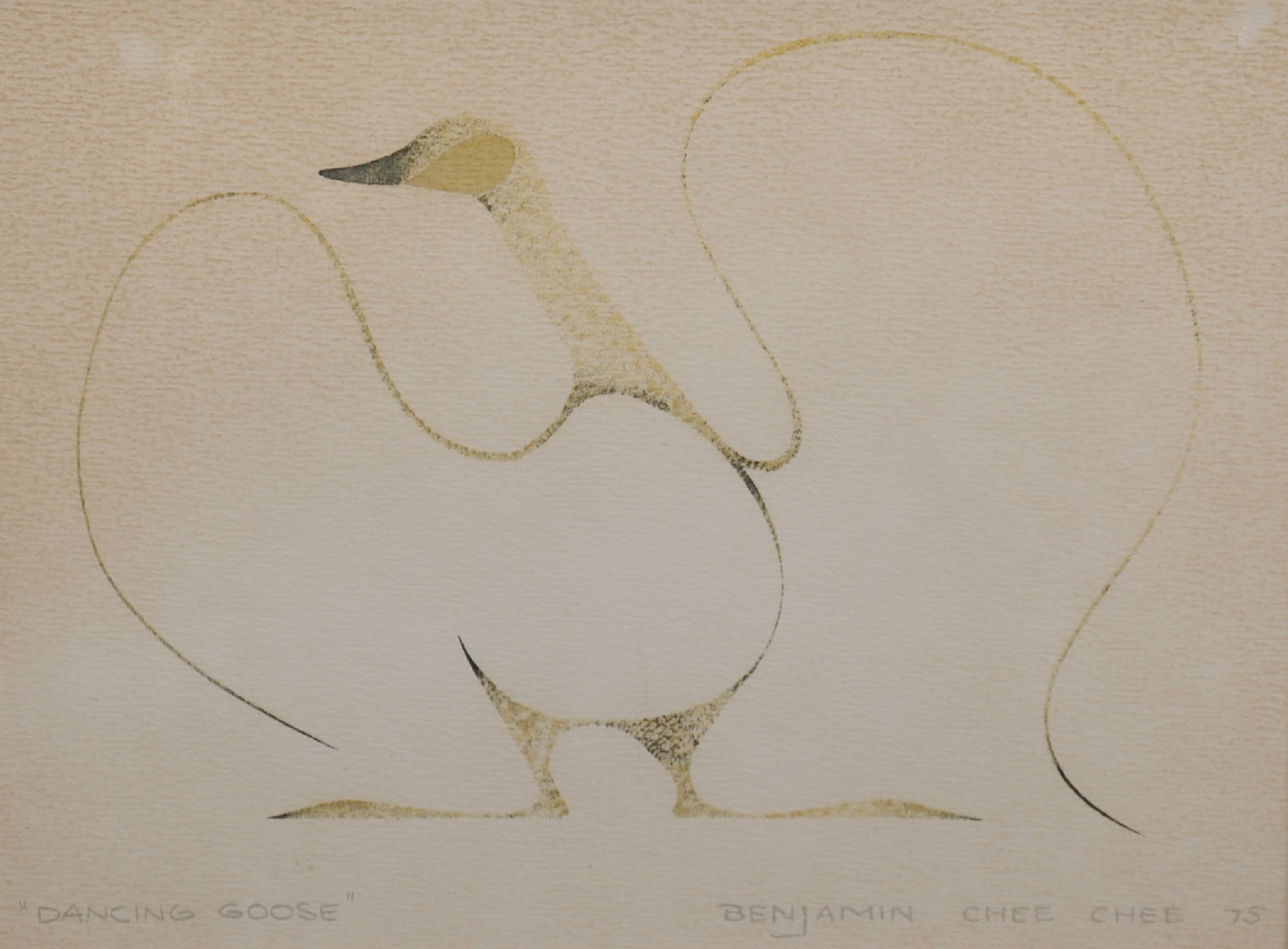 """Benjamin Chee Chee (1944-1977) Canadian. """"Dancing Goose"""", Lithograph, Signed, Inscribed and Dated '"""