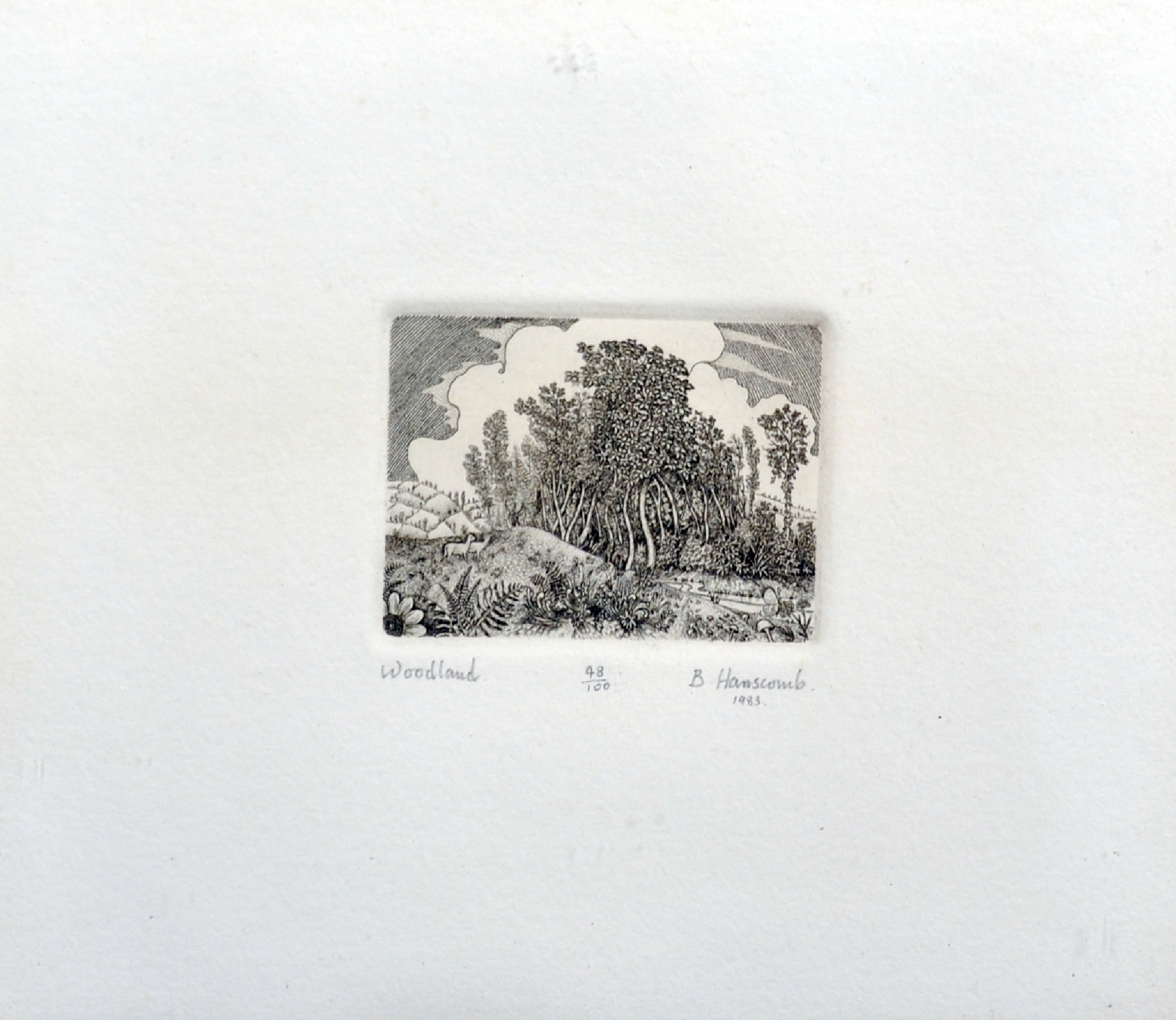 "B... Hanscomb (20th Century) British. ""Woodland"", Etching, Signed, Inscribed, Numbered 48/100, and"